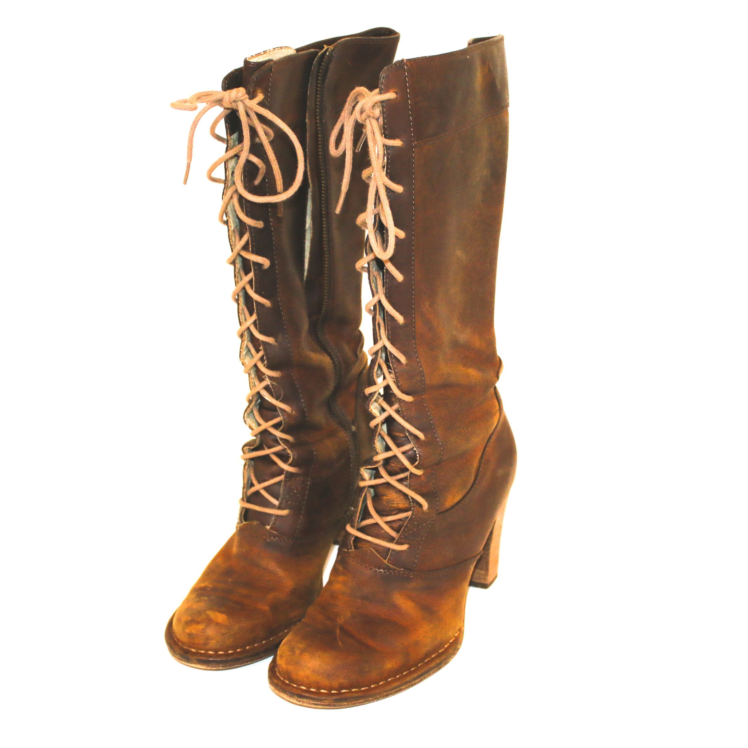 Frye Brown Leather Lace-Up Tall Boots