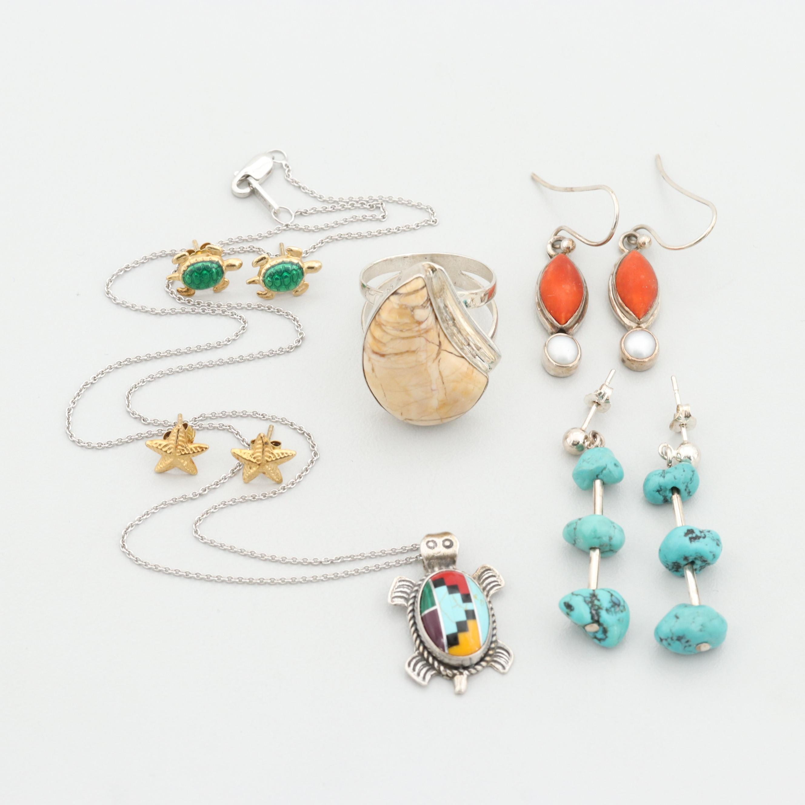 Collection of Sterling Silver Cultured Pearl, Turquoise and Coral Jewelry