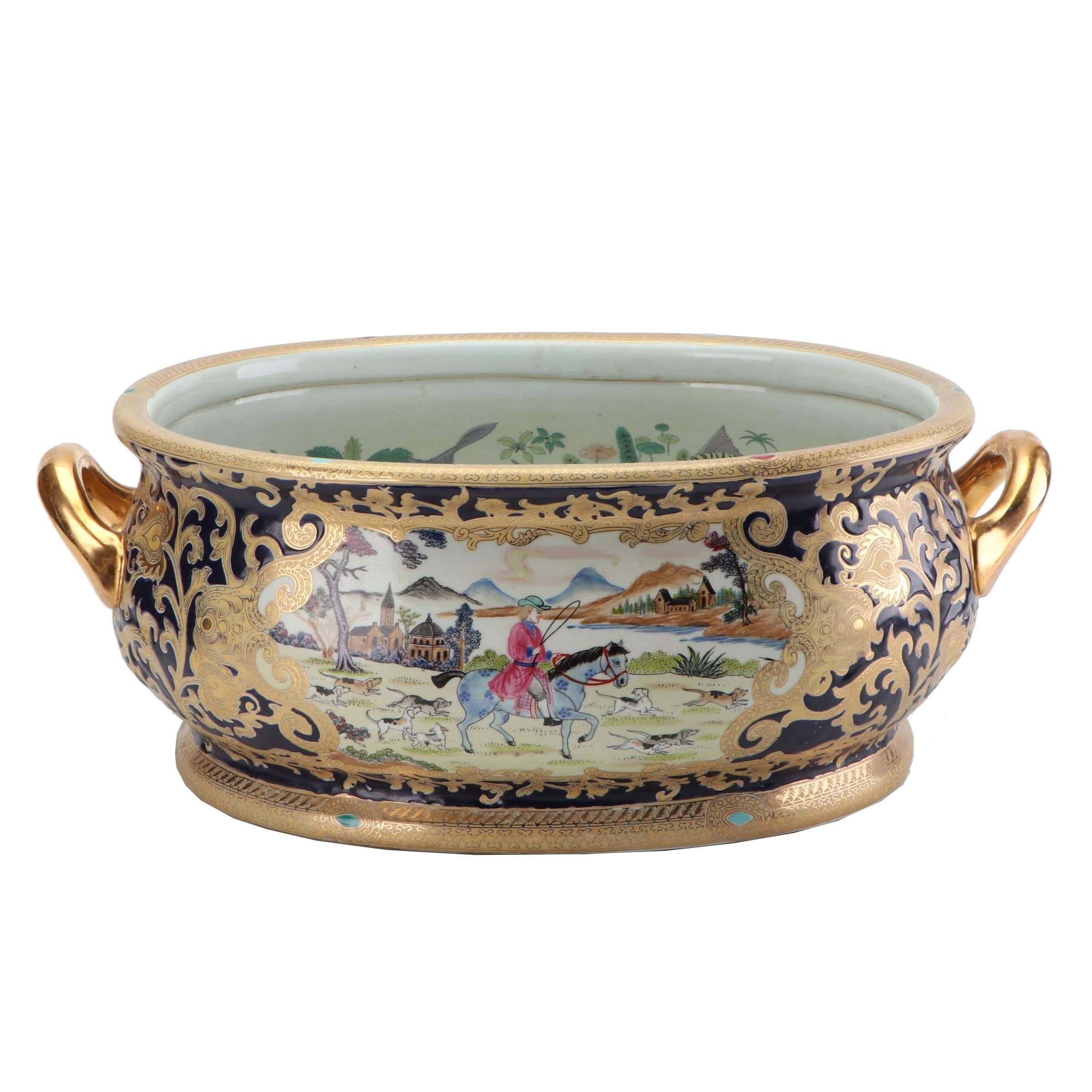 Hand-Decorated Gilt Porcelain Planter