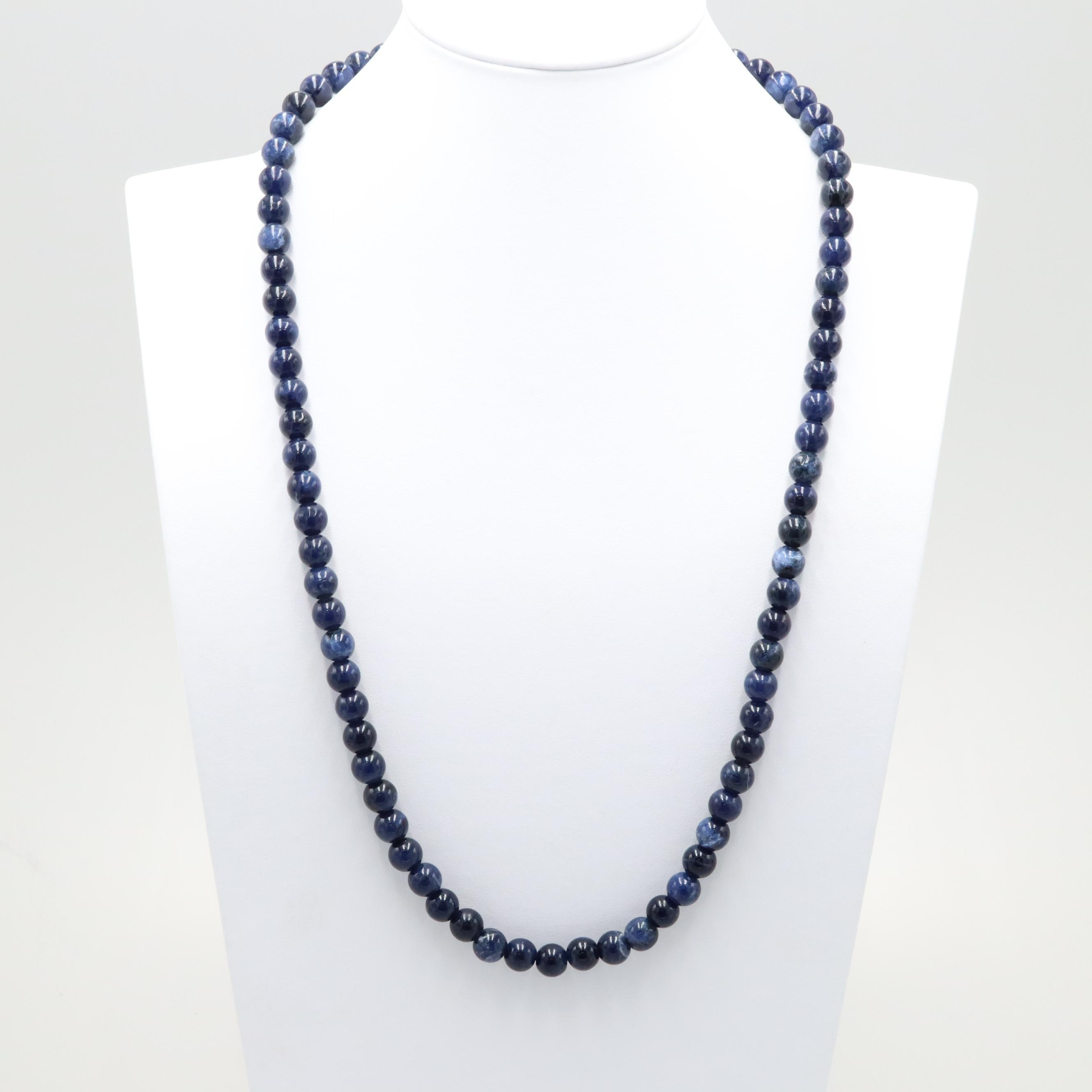 14K Yellow Gold Sodalite Necklace