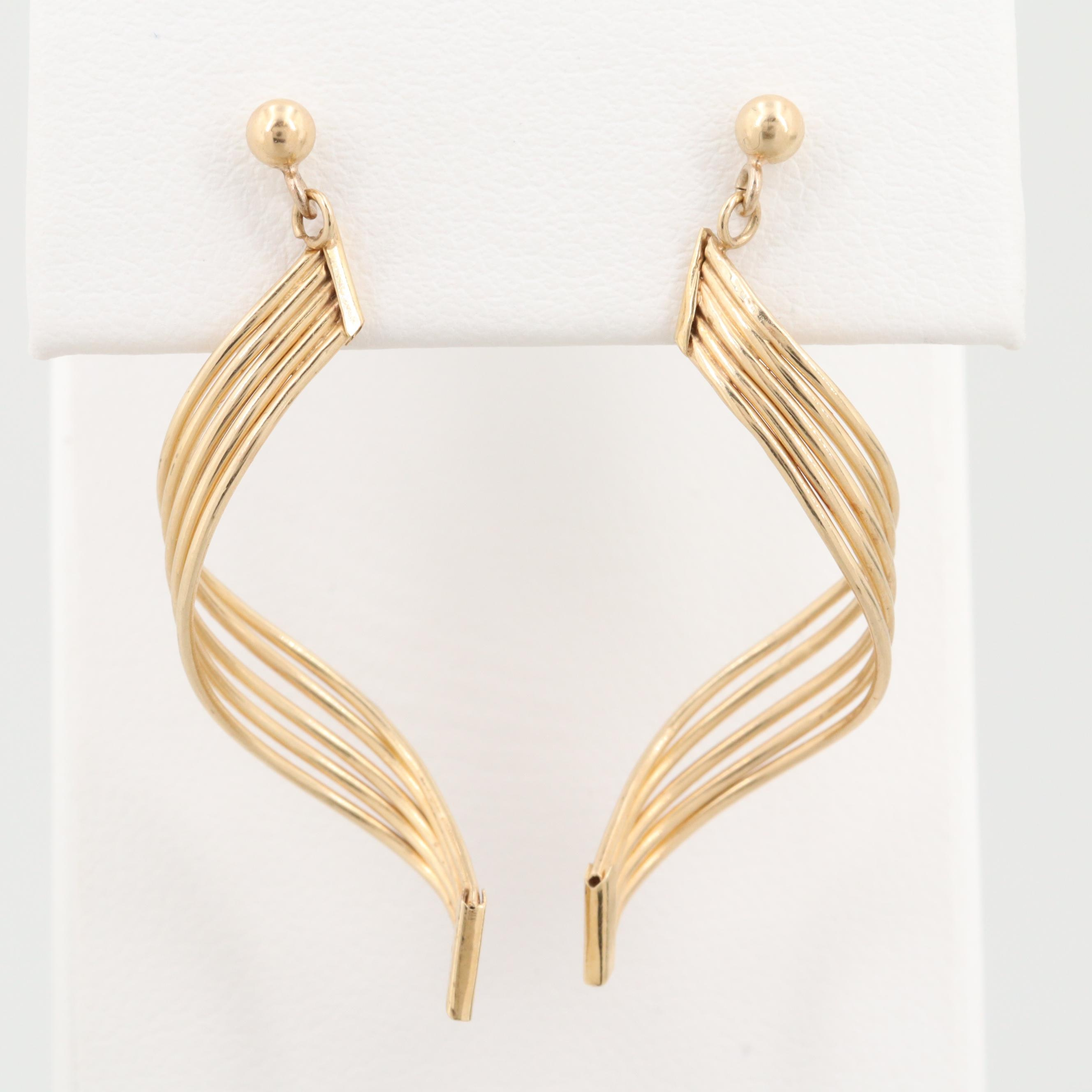 14K Yellow Gold Twisted Dangle Earrings
