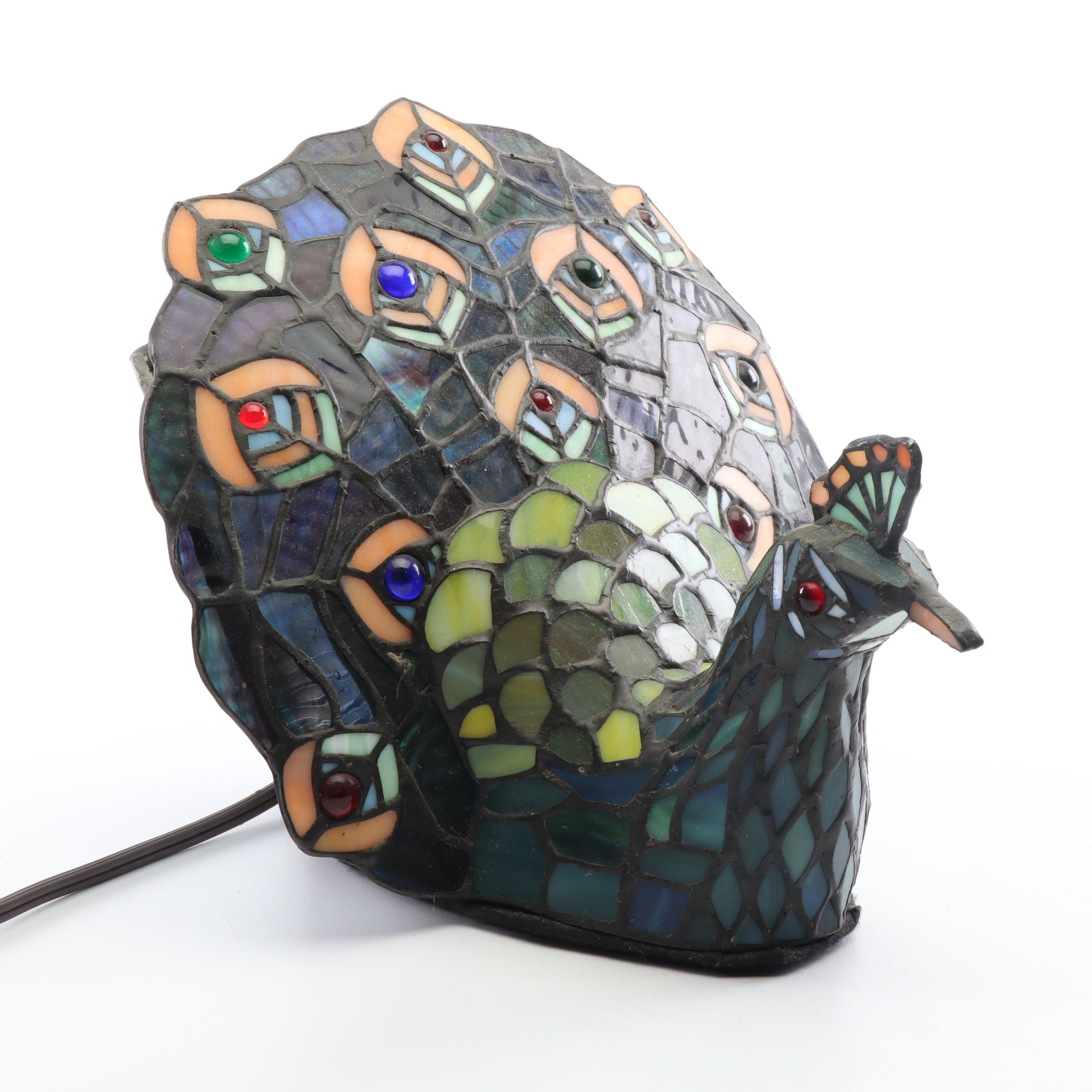 Stained-Glass Style Peacock Lamp, Contemporary