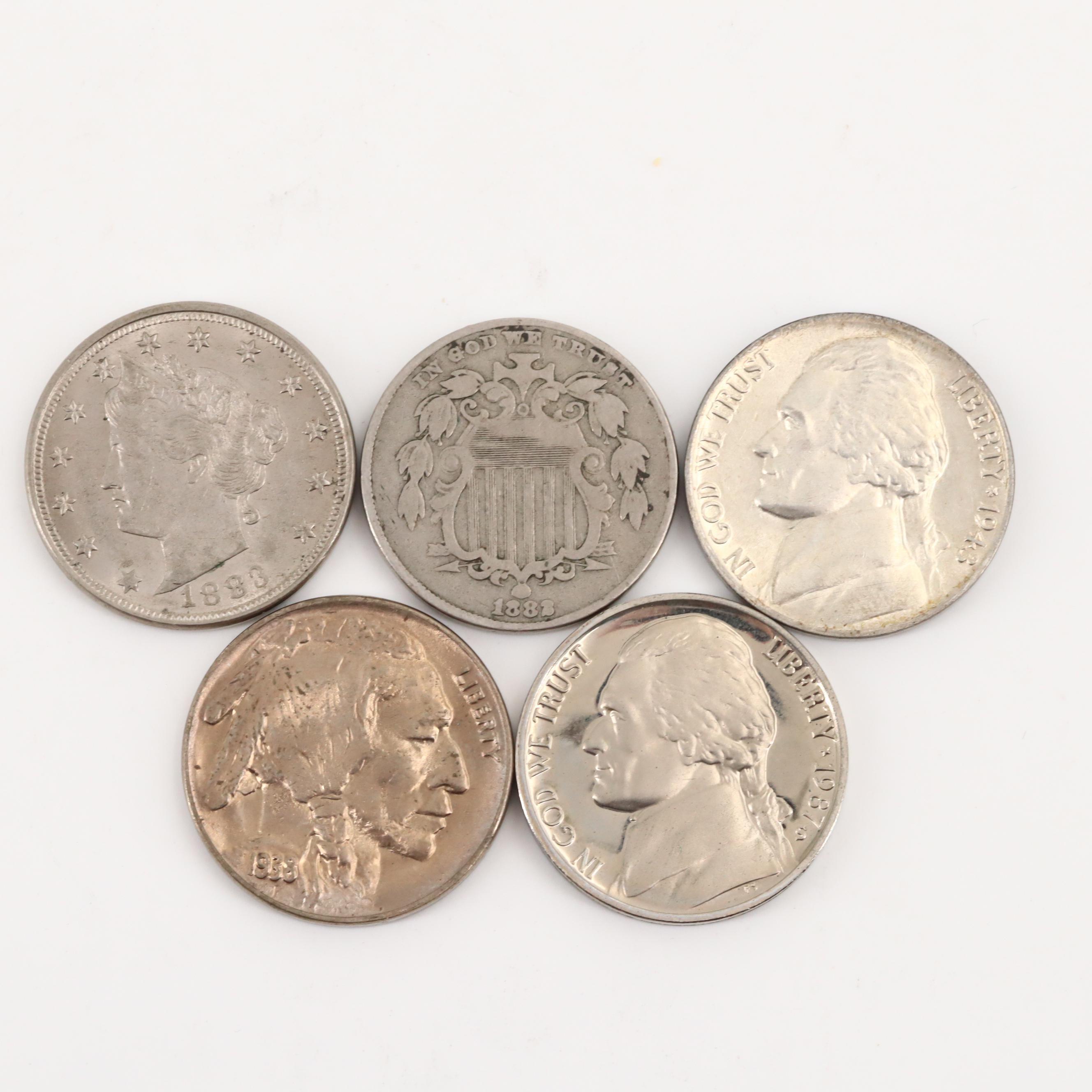 Five U.S. Type Nickels, 1882 to 1987