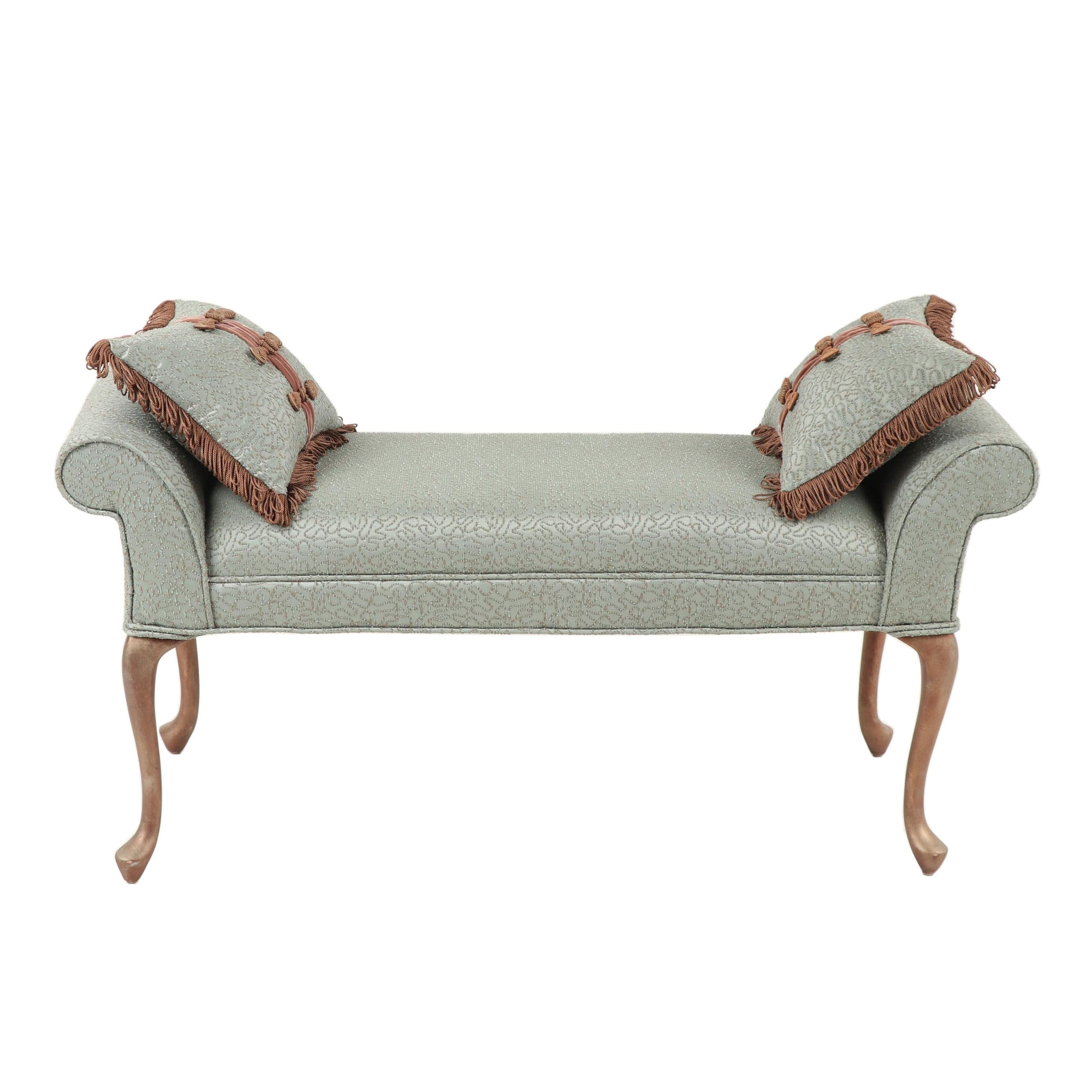 Contemporary Upholstered Bench with Accent Pillows