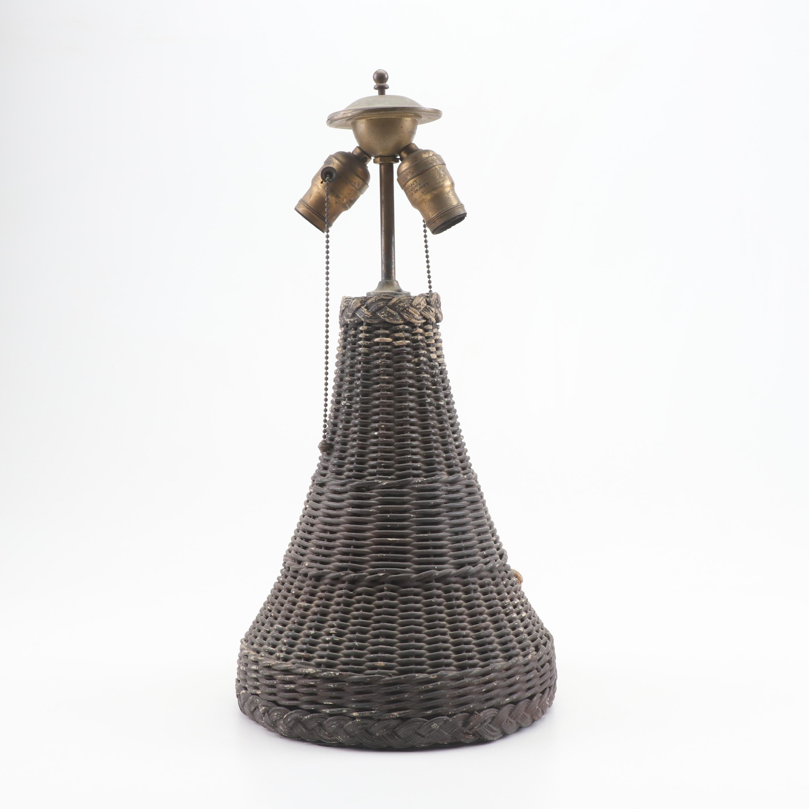 Painted Wicker Table Lamp, Early 20th Century