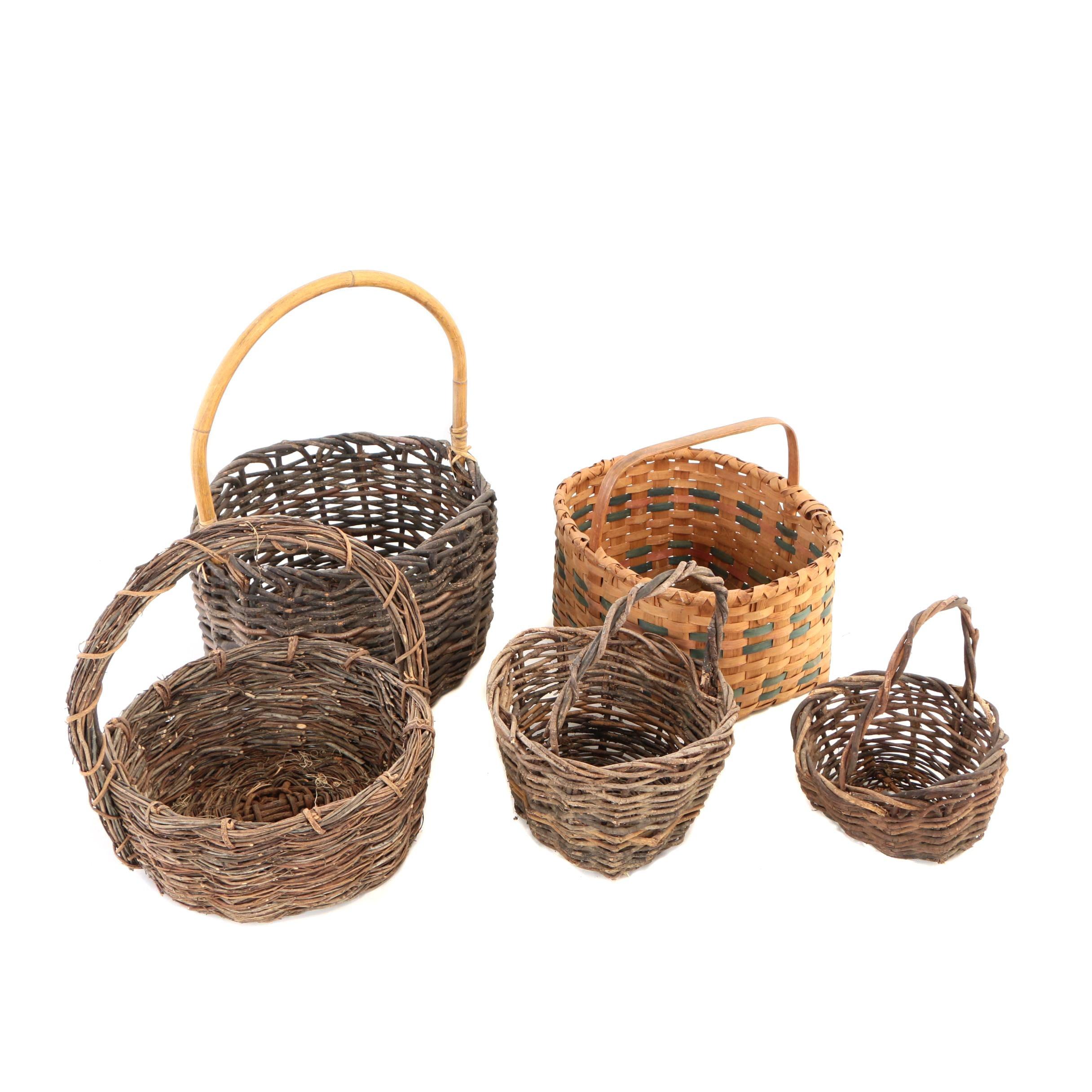 New England Style Splint Woven Basket and Handled Twig Baskets