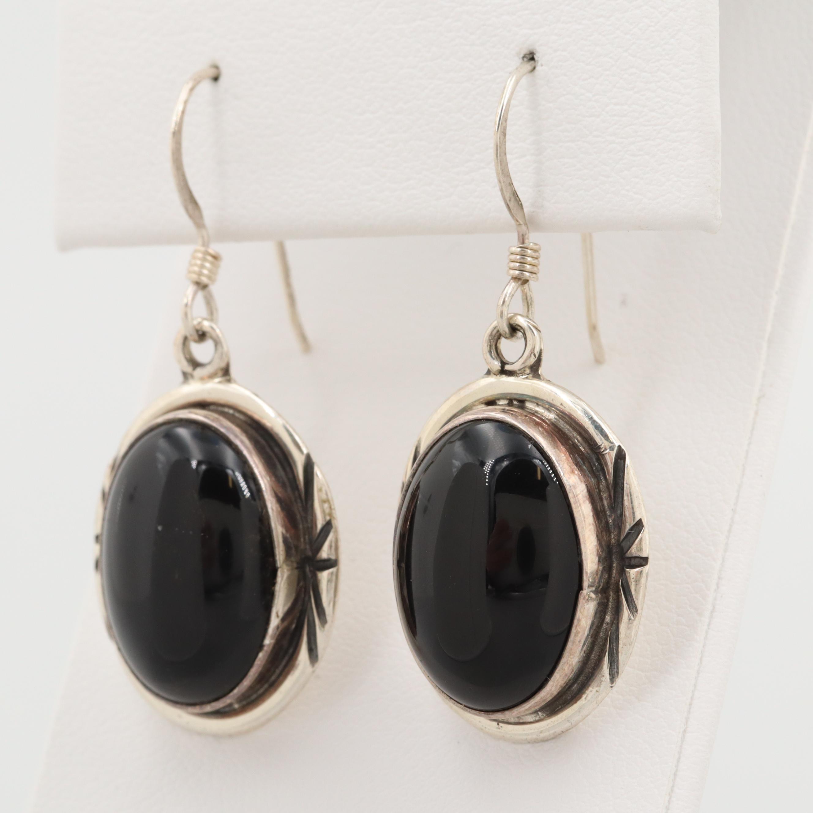 Southwestern Style Sterling Silver Black Onyx Dangle Earrings