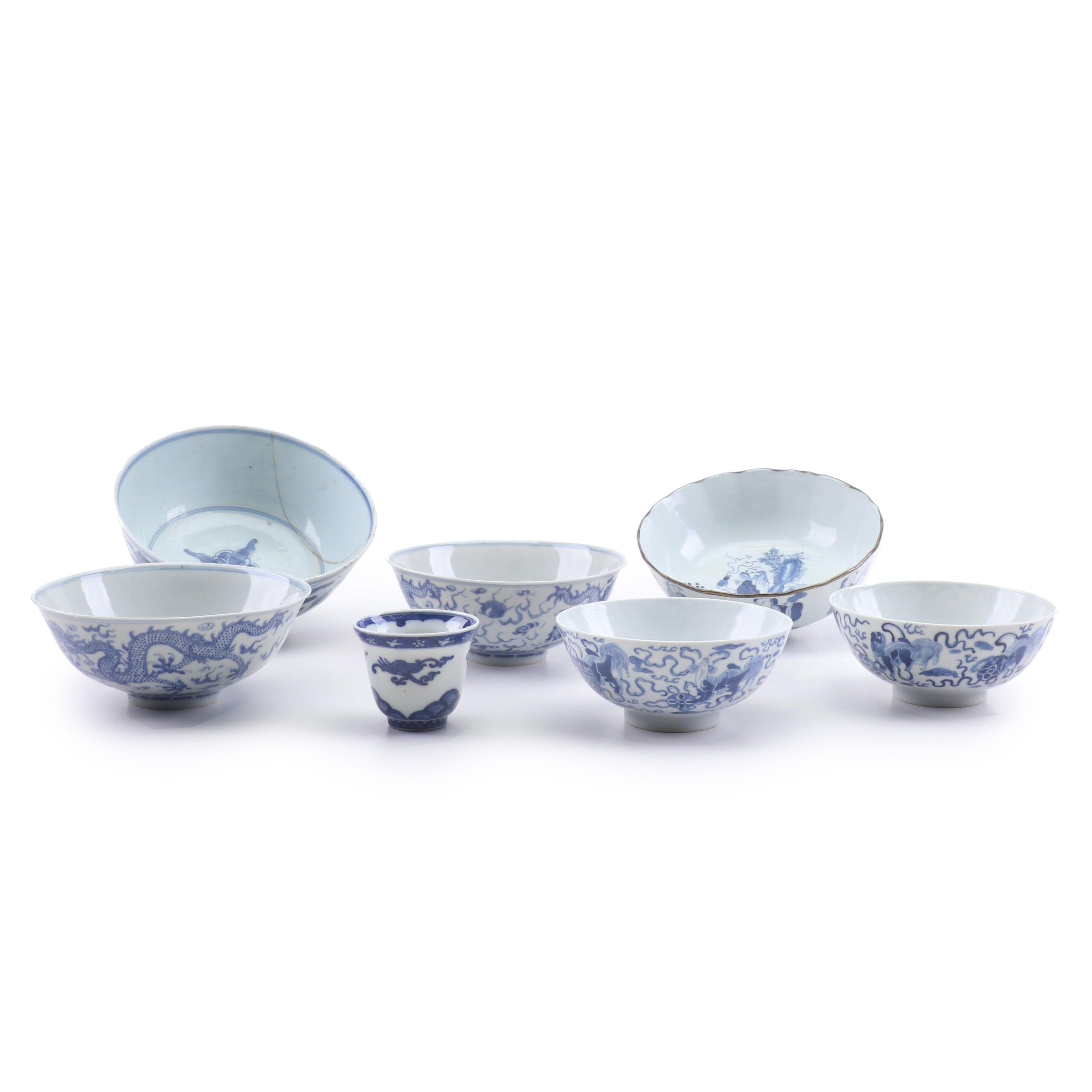 East Asian Blue and White Decorated Porcelain Bowls, 19th and 20th Century