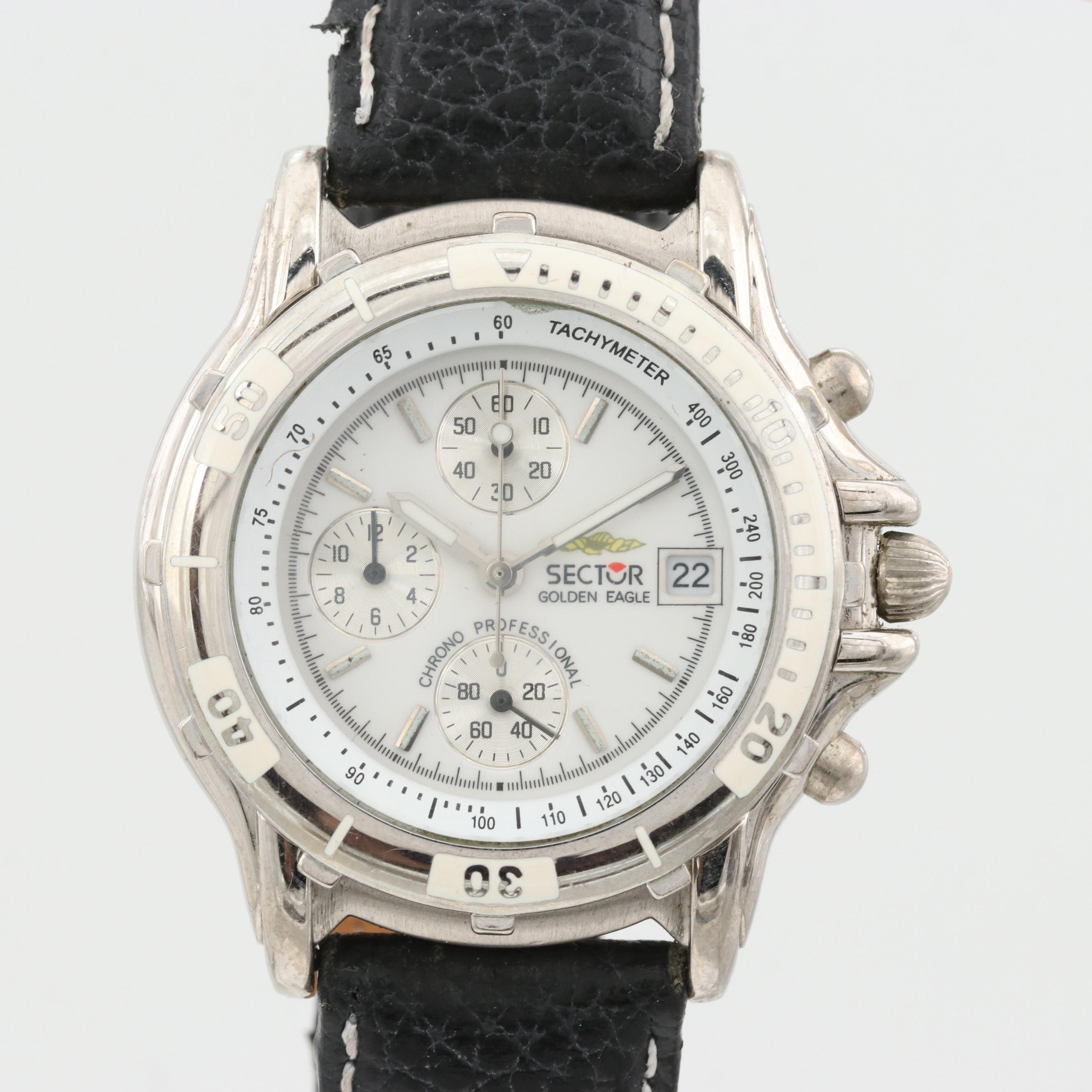Sector Golden Eagle Silver Tone Quartz Chronograph Wristwatch