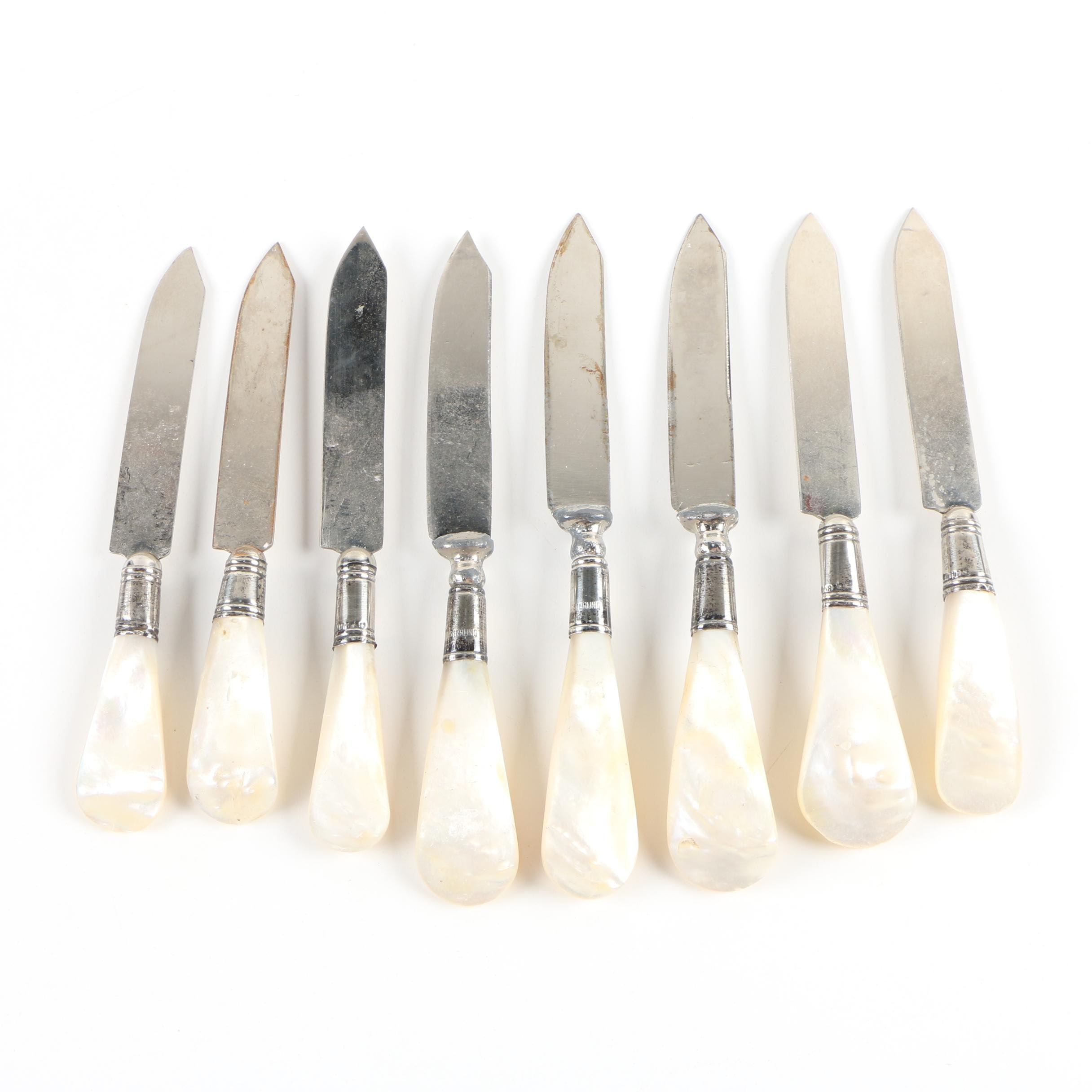 Steak Knives with Sterling and Mother-of-Pearl Handles