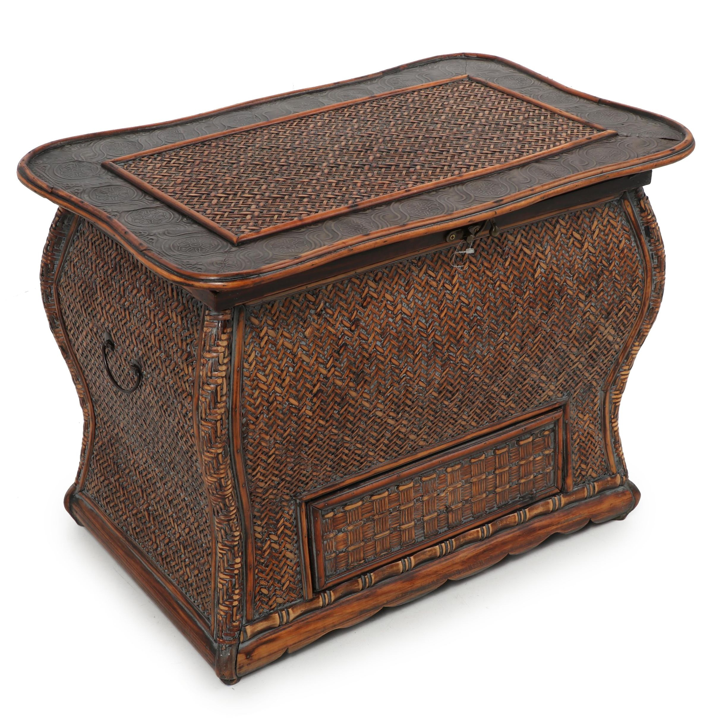 Contemporary Woven Rattan Side Table Chest