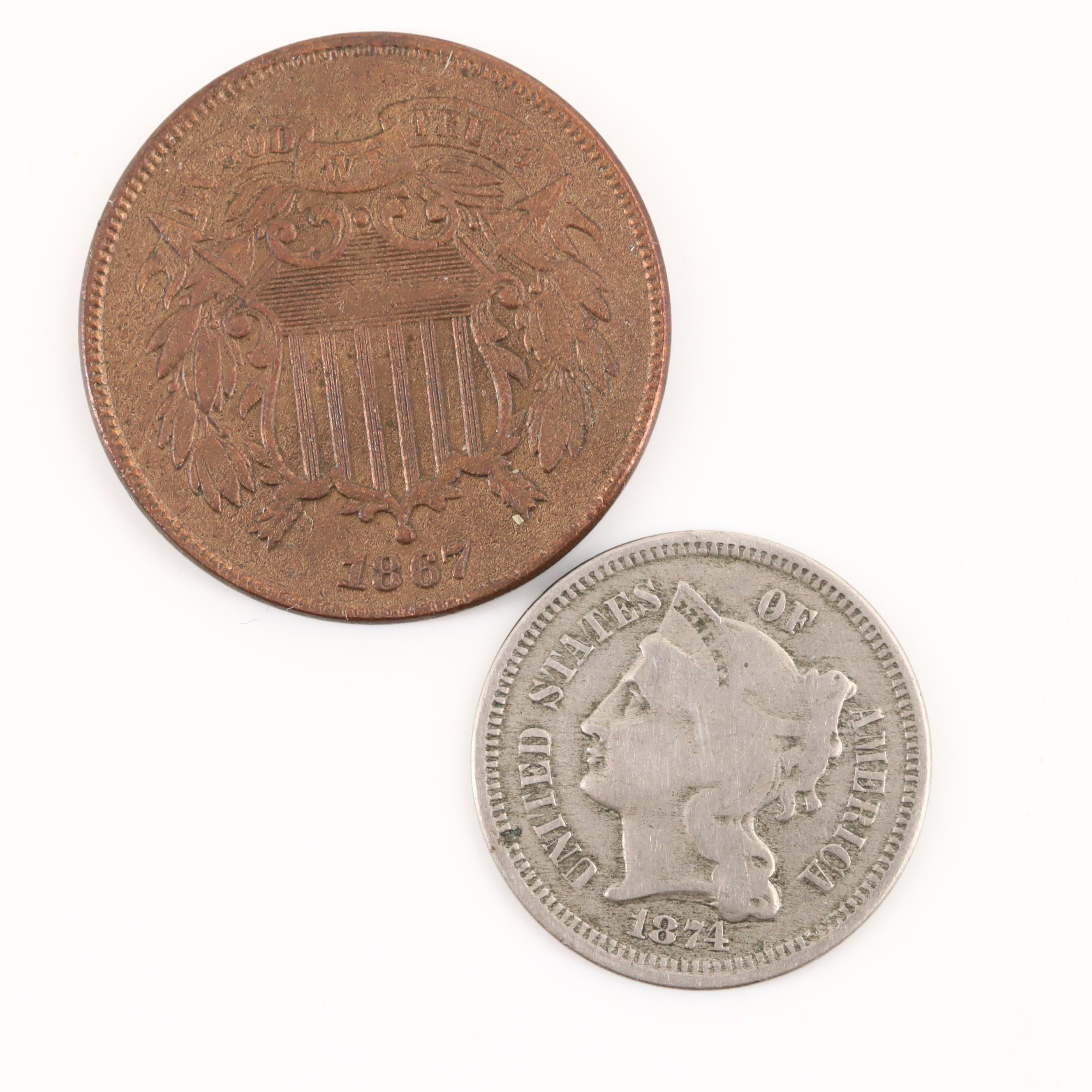 U.S. 1867 2-Cent Shield Coin and an 1874 Liberty Head 3-Cent Nickel Coin