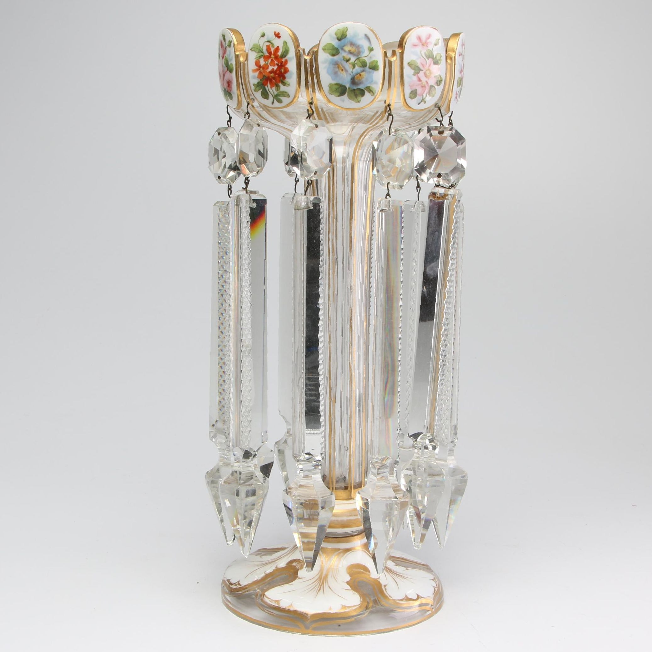 Hand-Painted Crystal Mantel Lustre, Early 20th Century