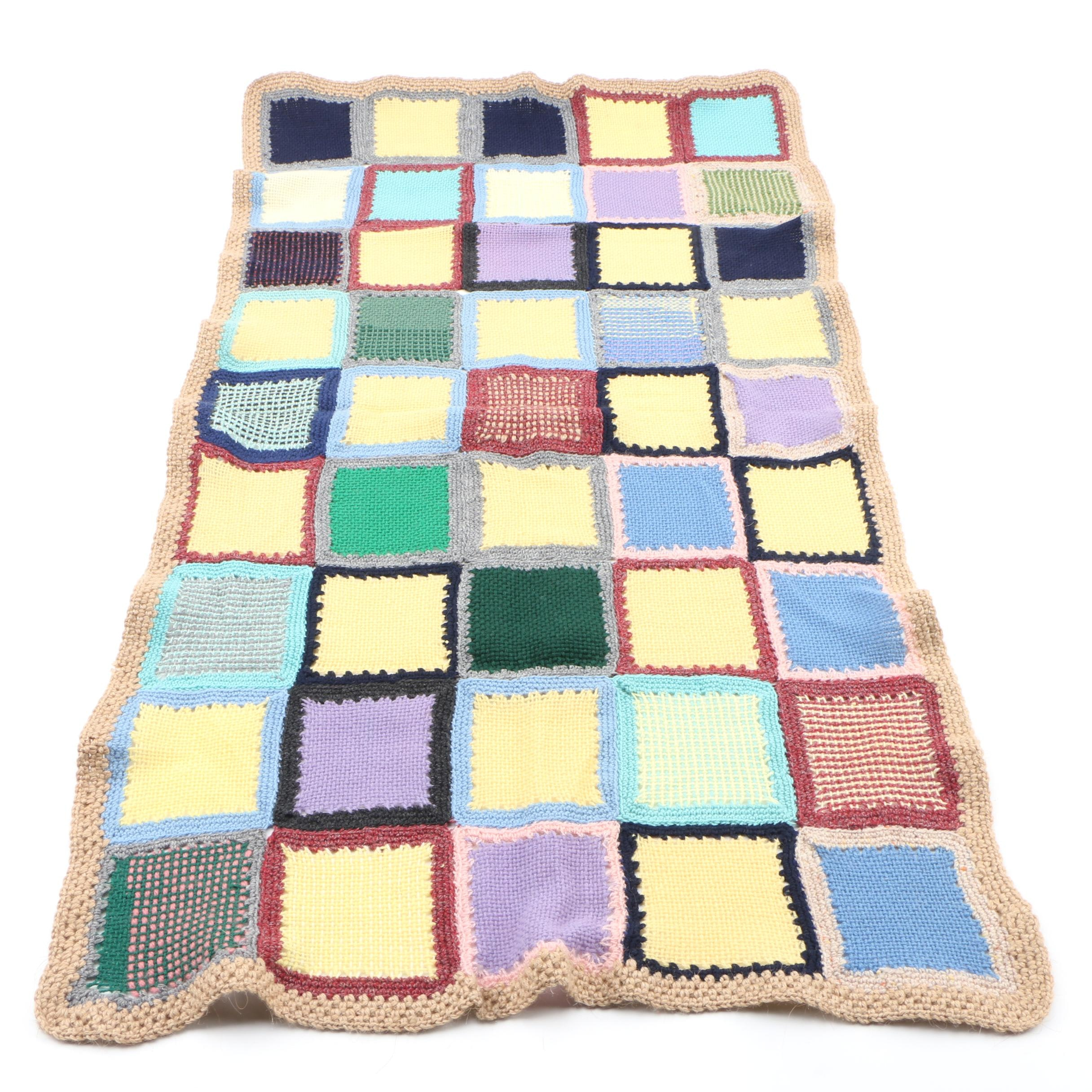 Handmade Colorful Knitted Lap or Baby Blanket, Vintage