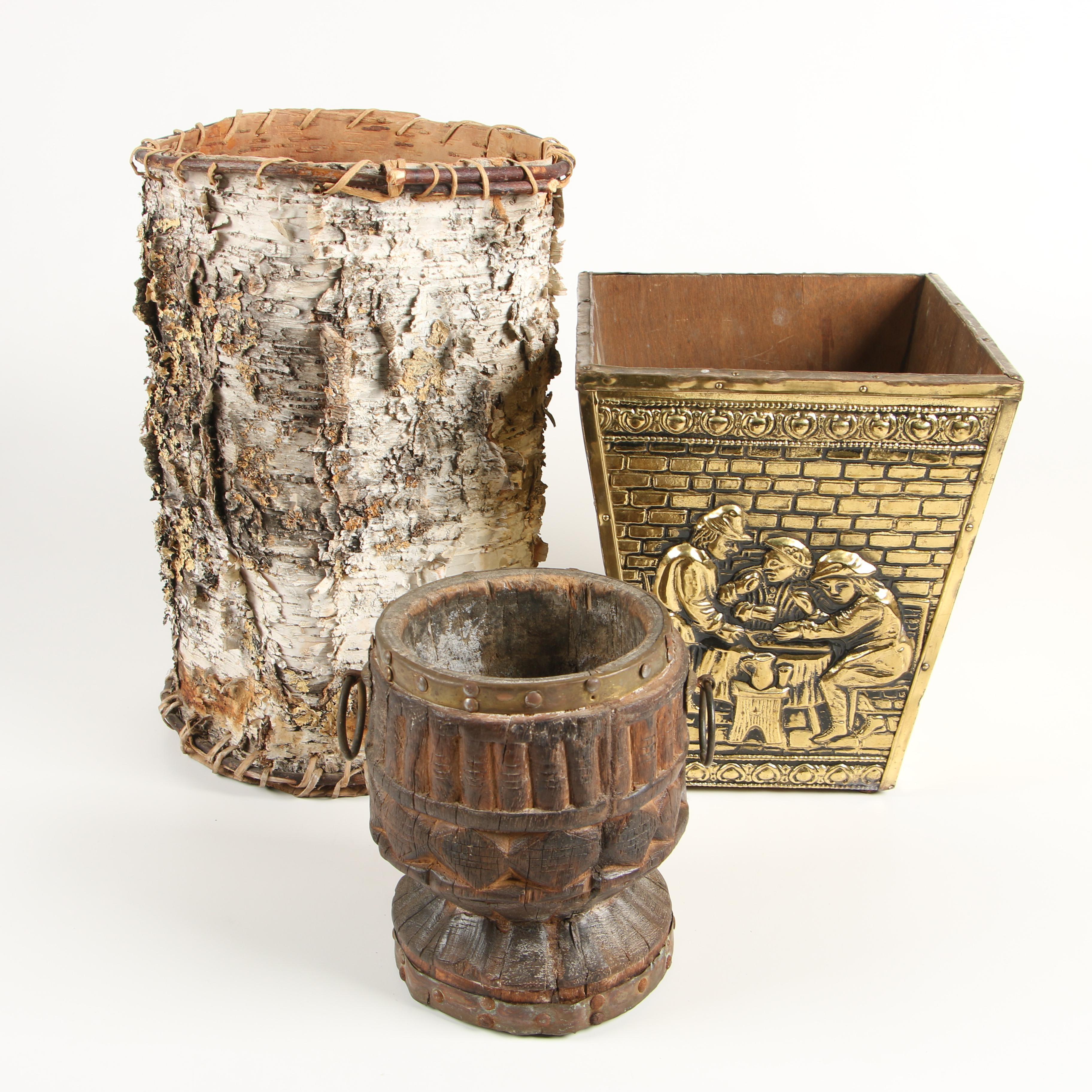 Birch Bark Basket, Embossed Brass Wastebasket, and Hewn Wood Cache Pot