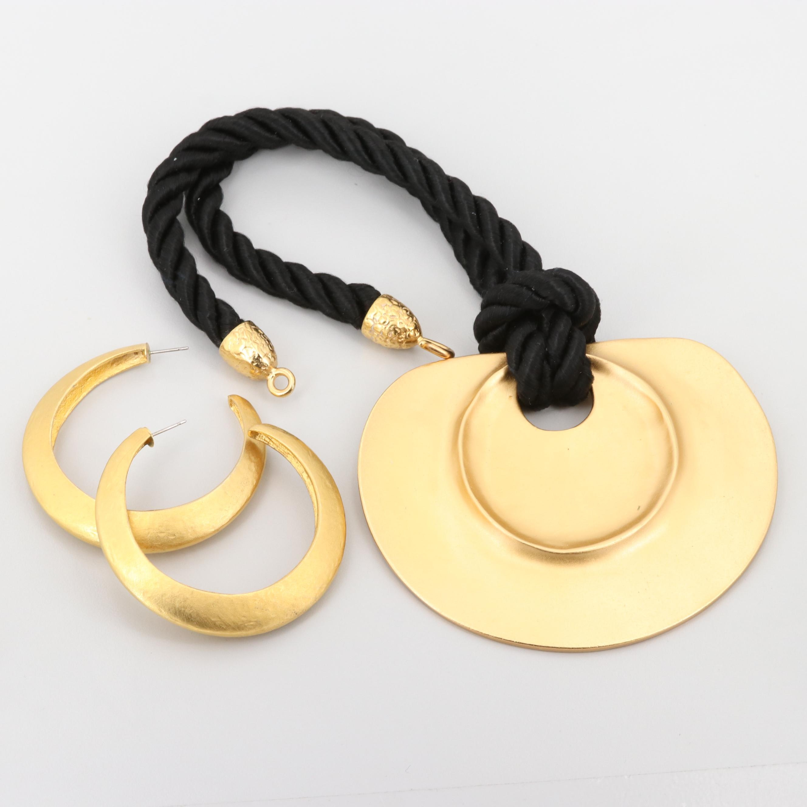 Vintage Kenneth Jay Lane Necklace and Brushed Finish Hoop Earrings