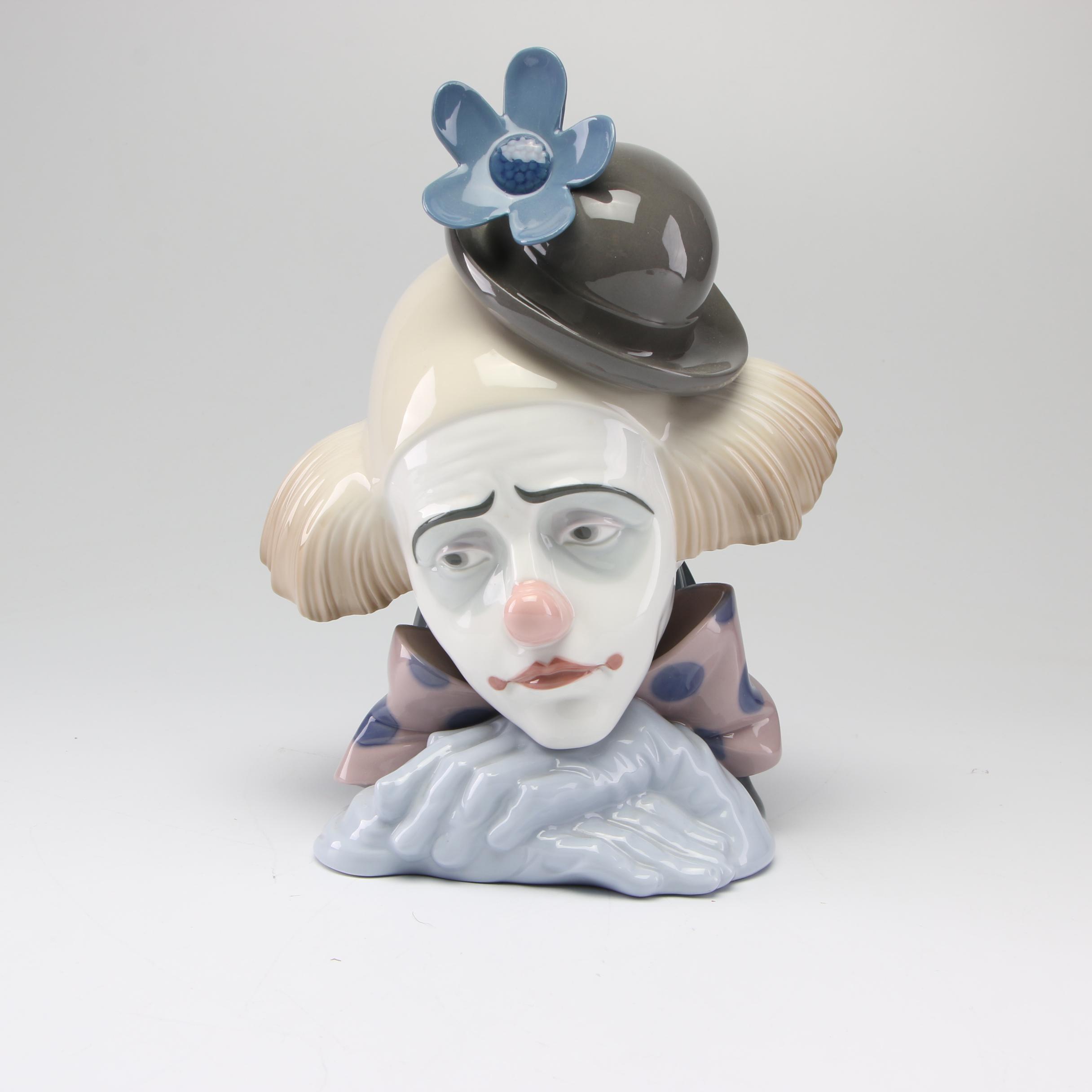 """Lladró """"Pensive Clown"""" Porcelain Figurine"""