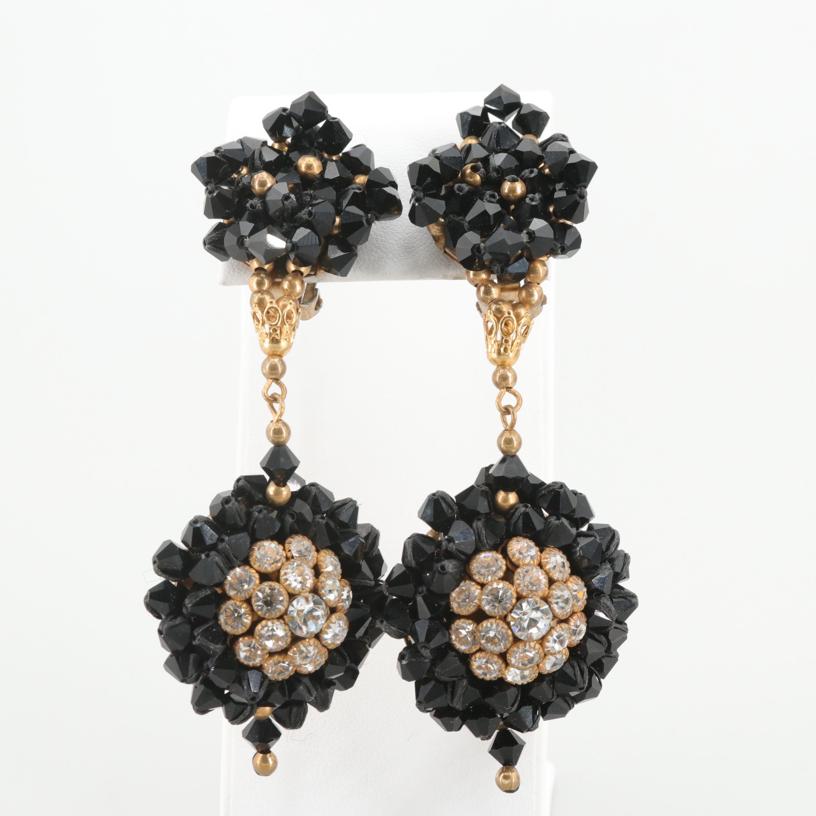 Rhinestone and Black Glass Clip-On Dangle Earrings