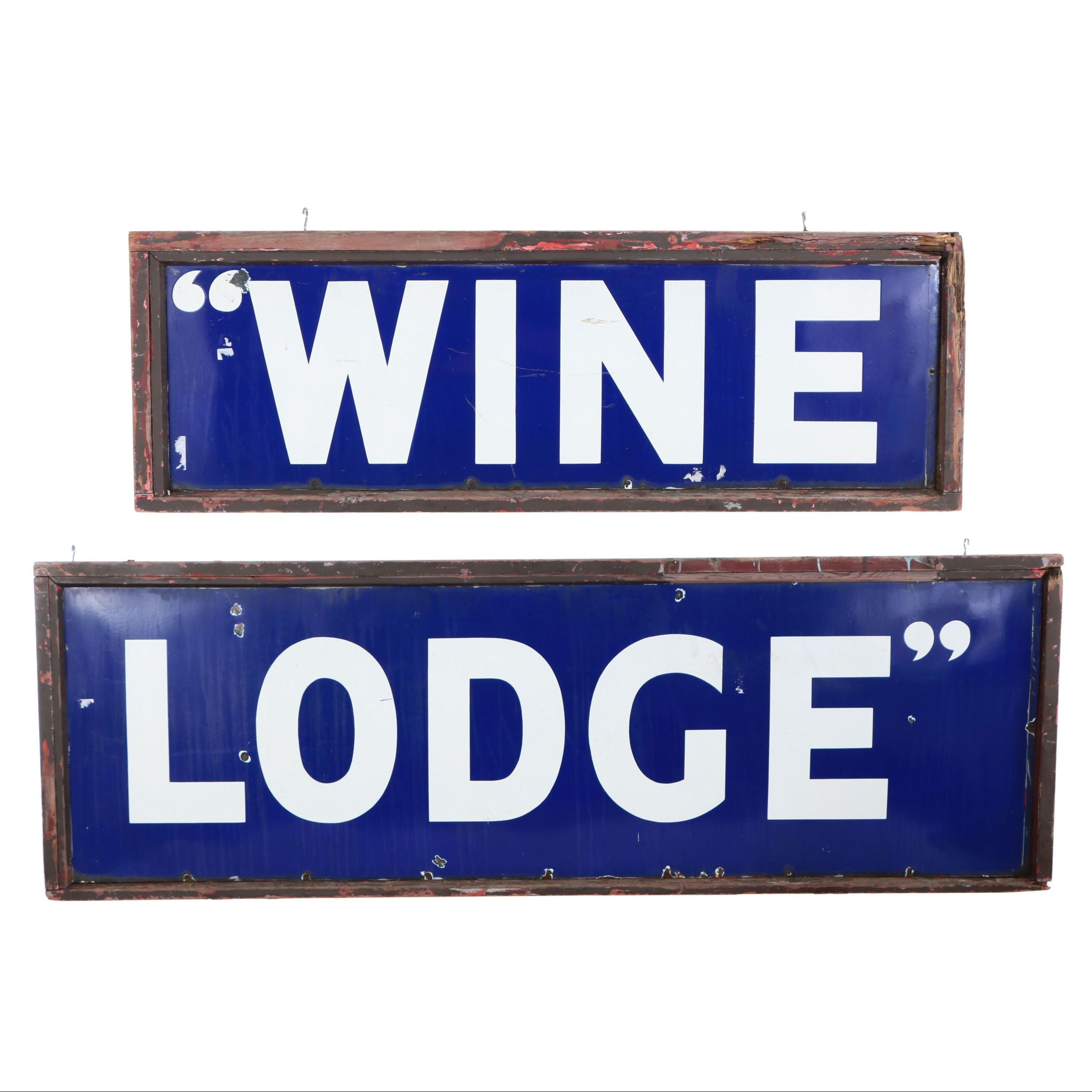 "Enameled Metal ""Wine Lodge"" Sign in Two Parts, 20th Century"