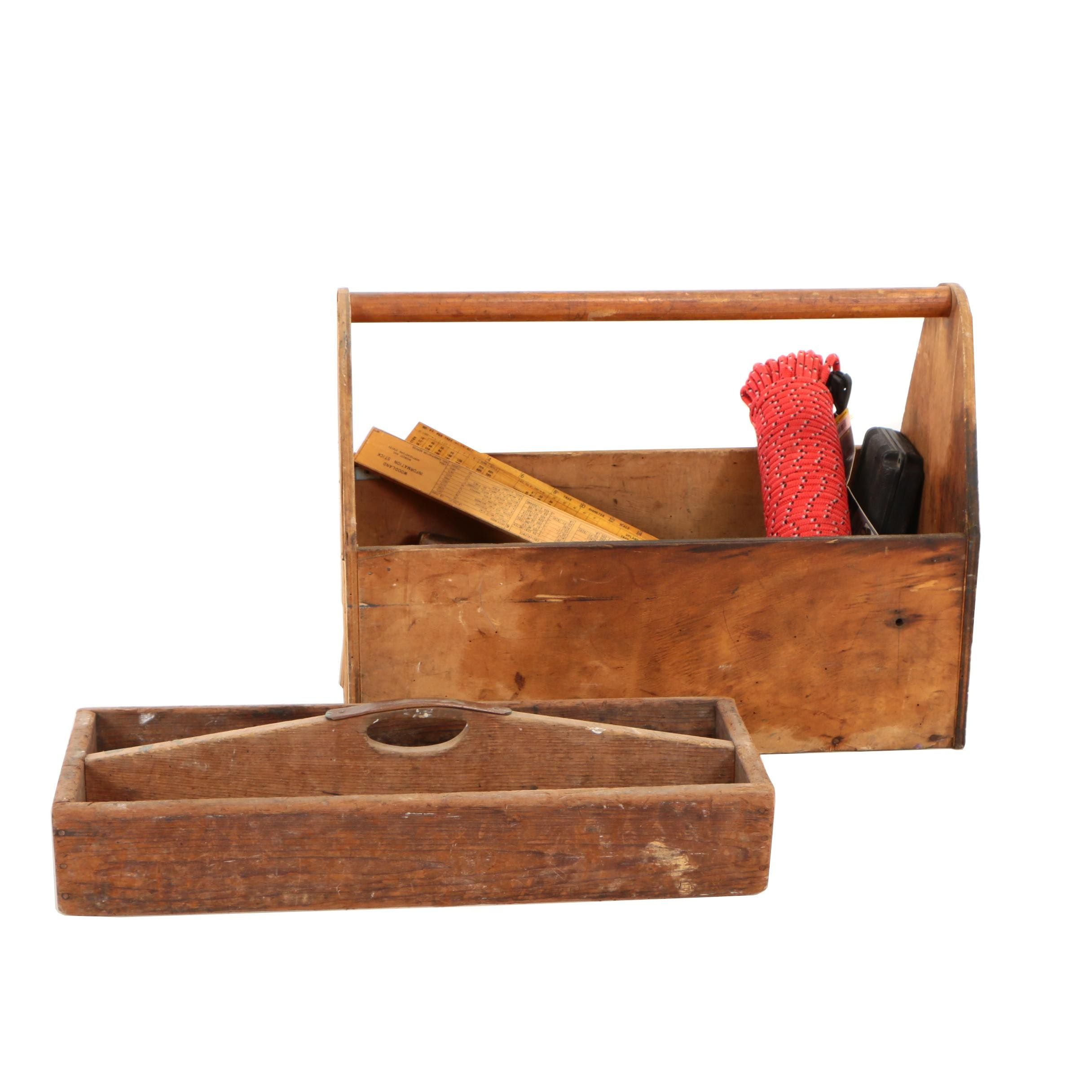 Wooden Tool Caddys with Various Tools Including Stanley, Walworth, and More