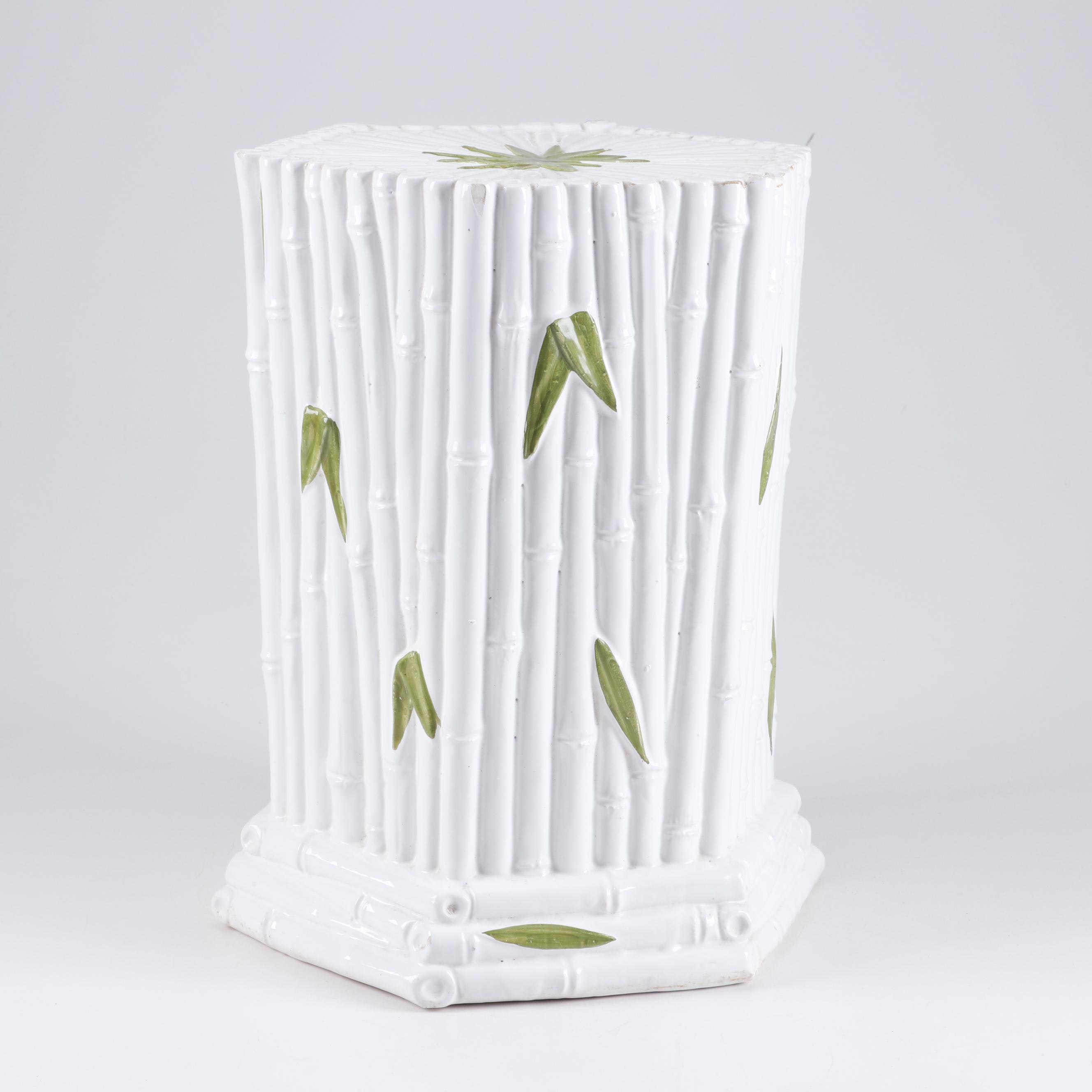 Painted Ceramic Faux Bamboo Garden Stool, Contemporary