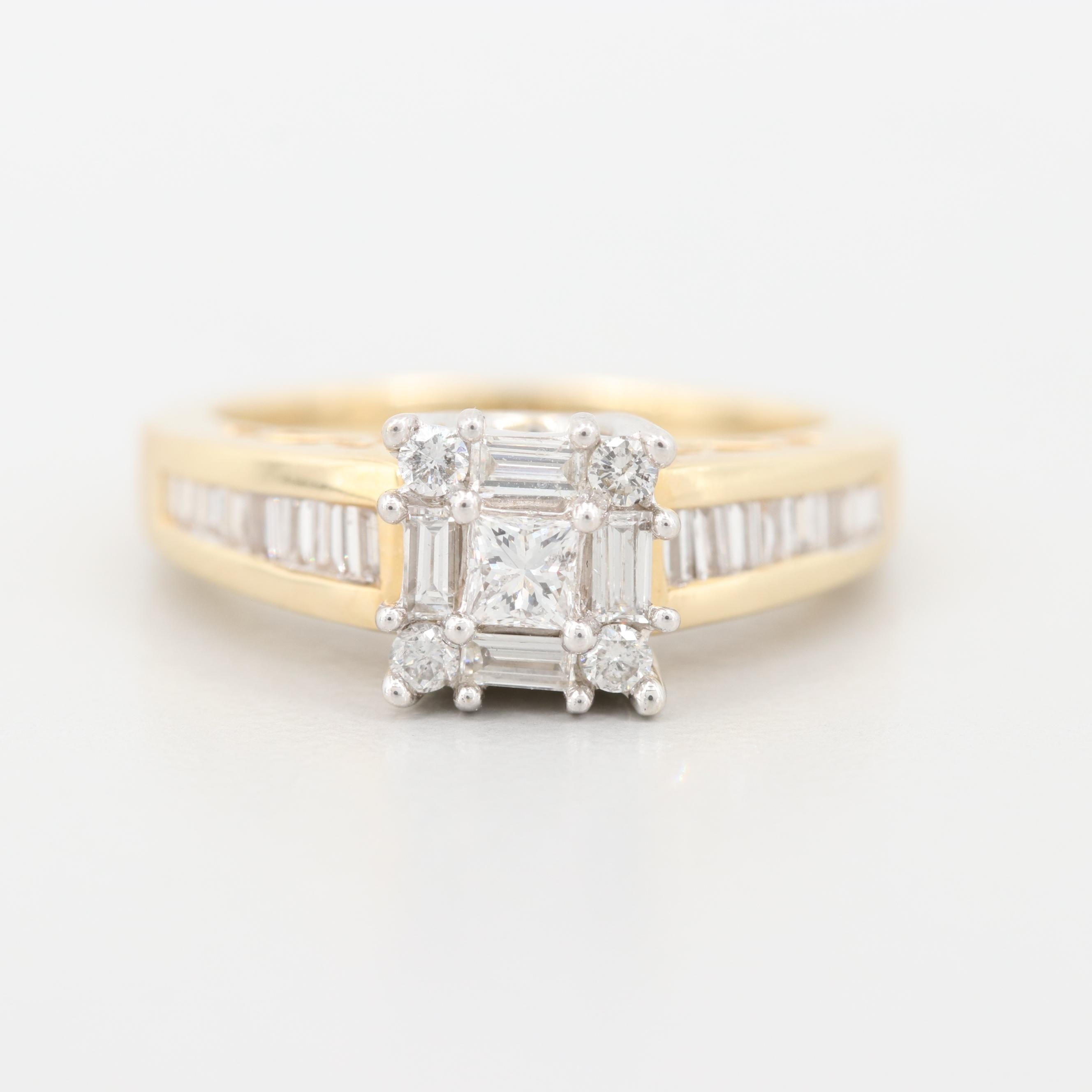 14K Yellow Gold 1.02 CTW Diamond Ring with White Gold Accents
