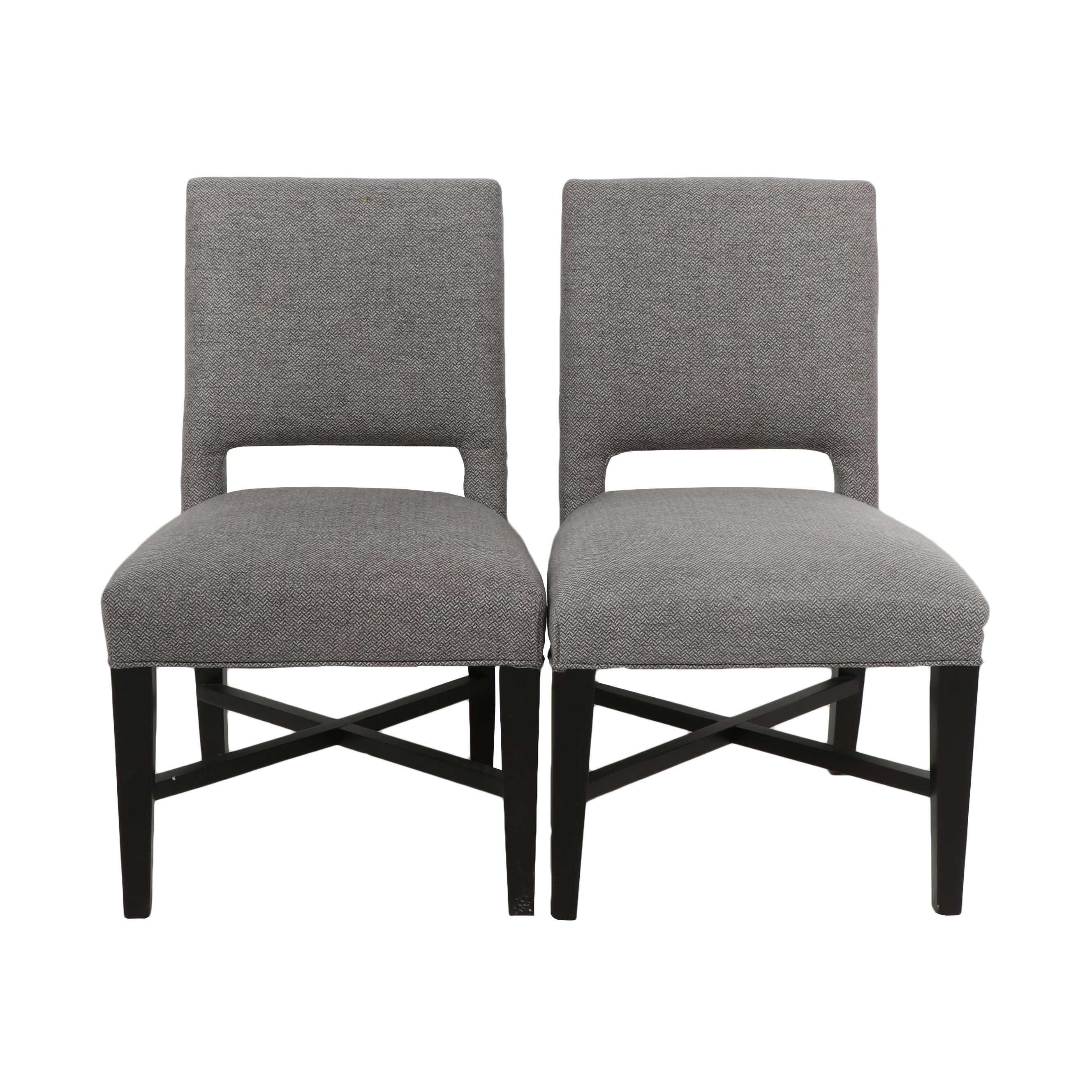 Pair of Dining Chairs with Dark Brown Wooden Legs and Grey Tweed Upholstery