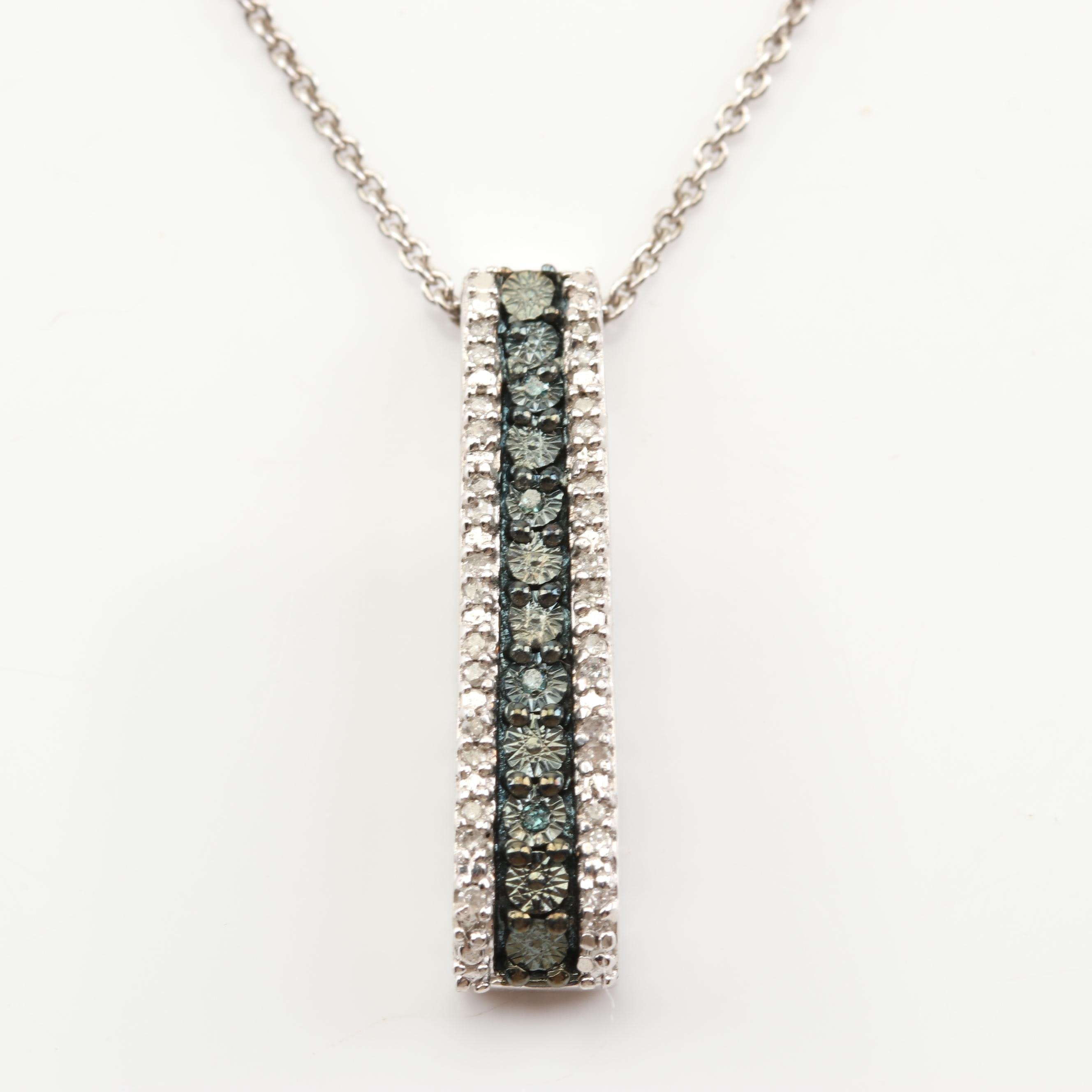 Sterling Silver Diamond and Irradiated Blue Diamond Pendant Necklace