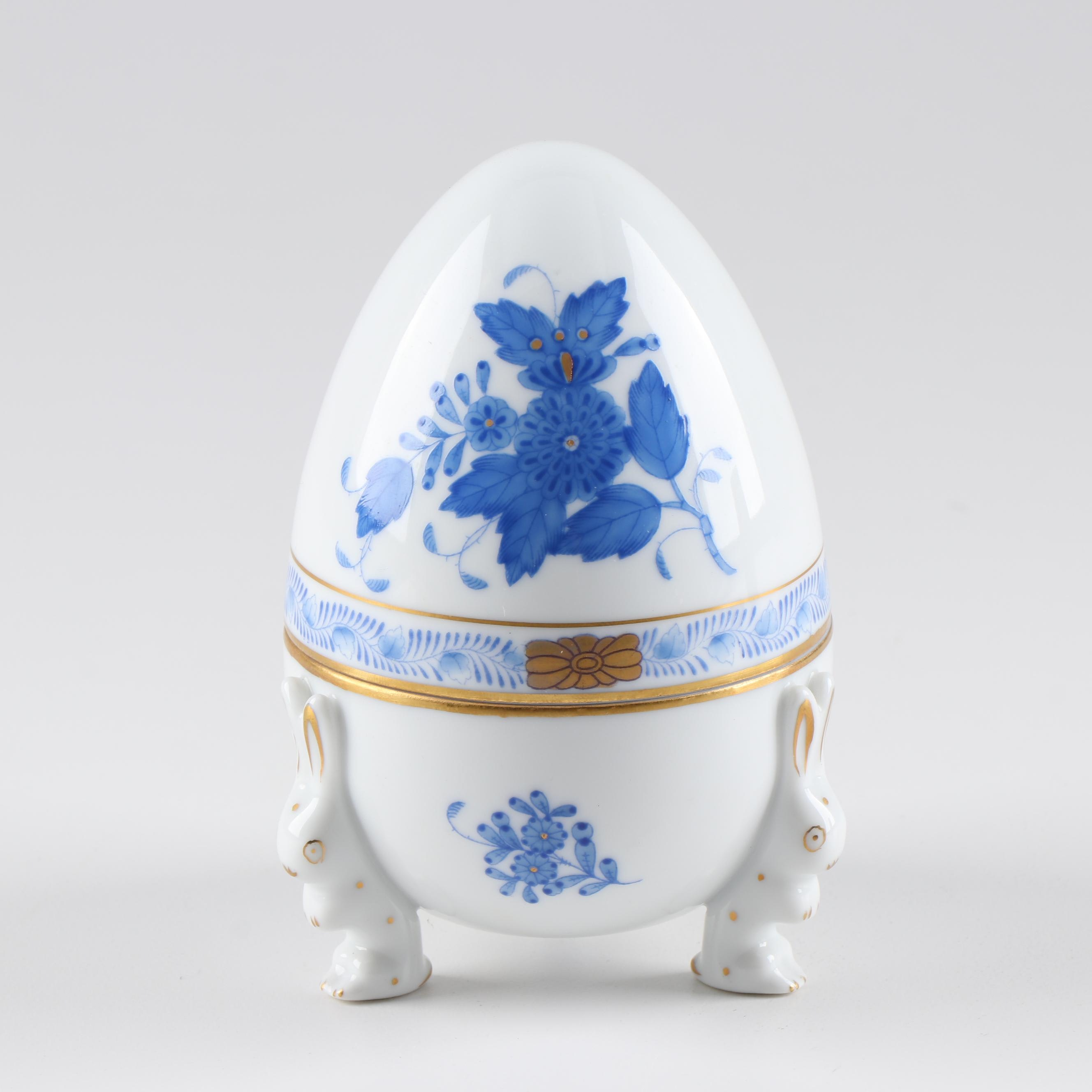 """Herend Hungary """"Chinese Bouquet"""" Porcelain Egg"""