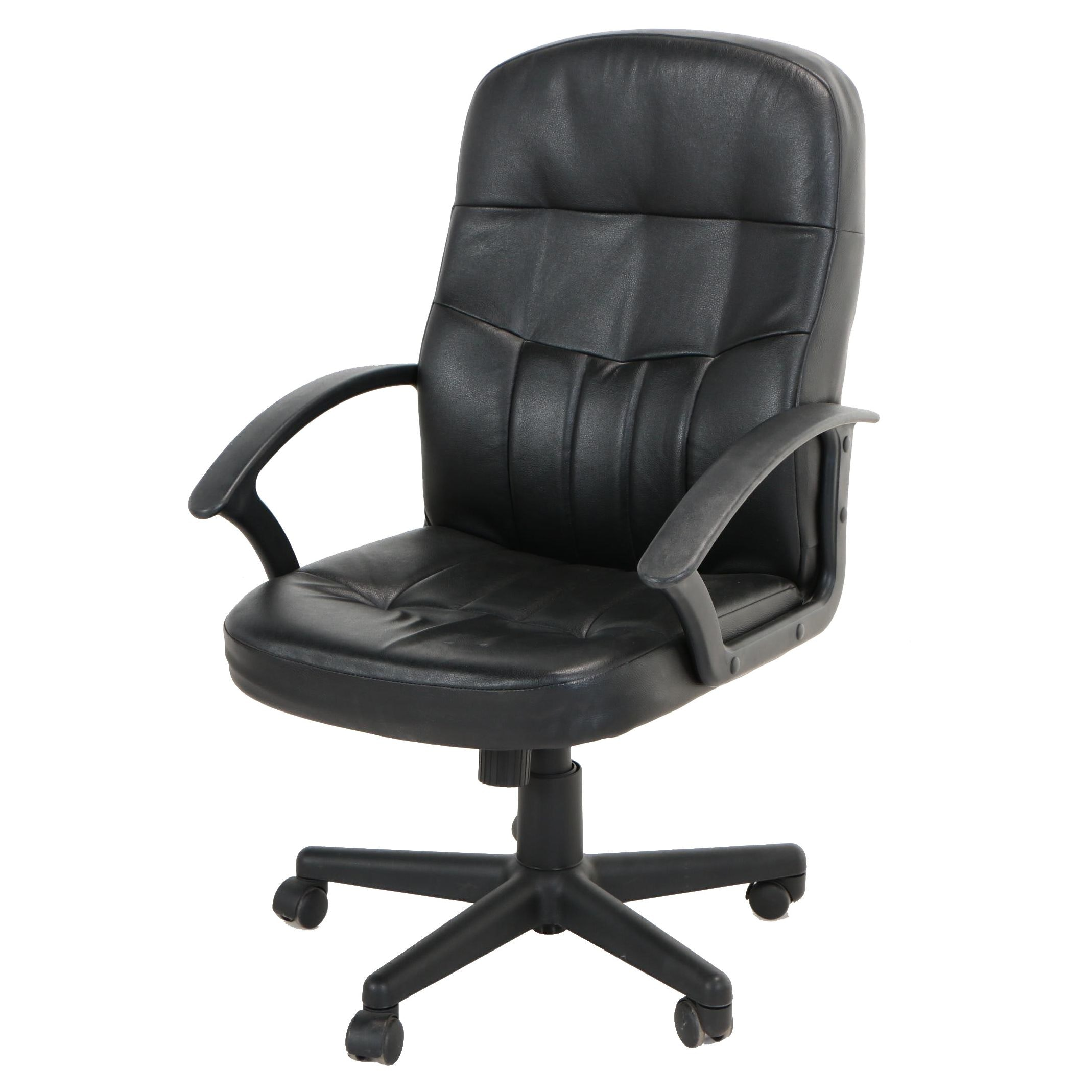 Office Club Inc., Black Faux-Leather Swiveling and Rolling Desk Chair