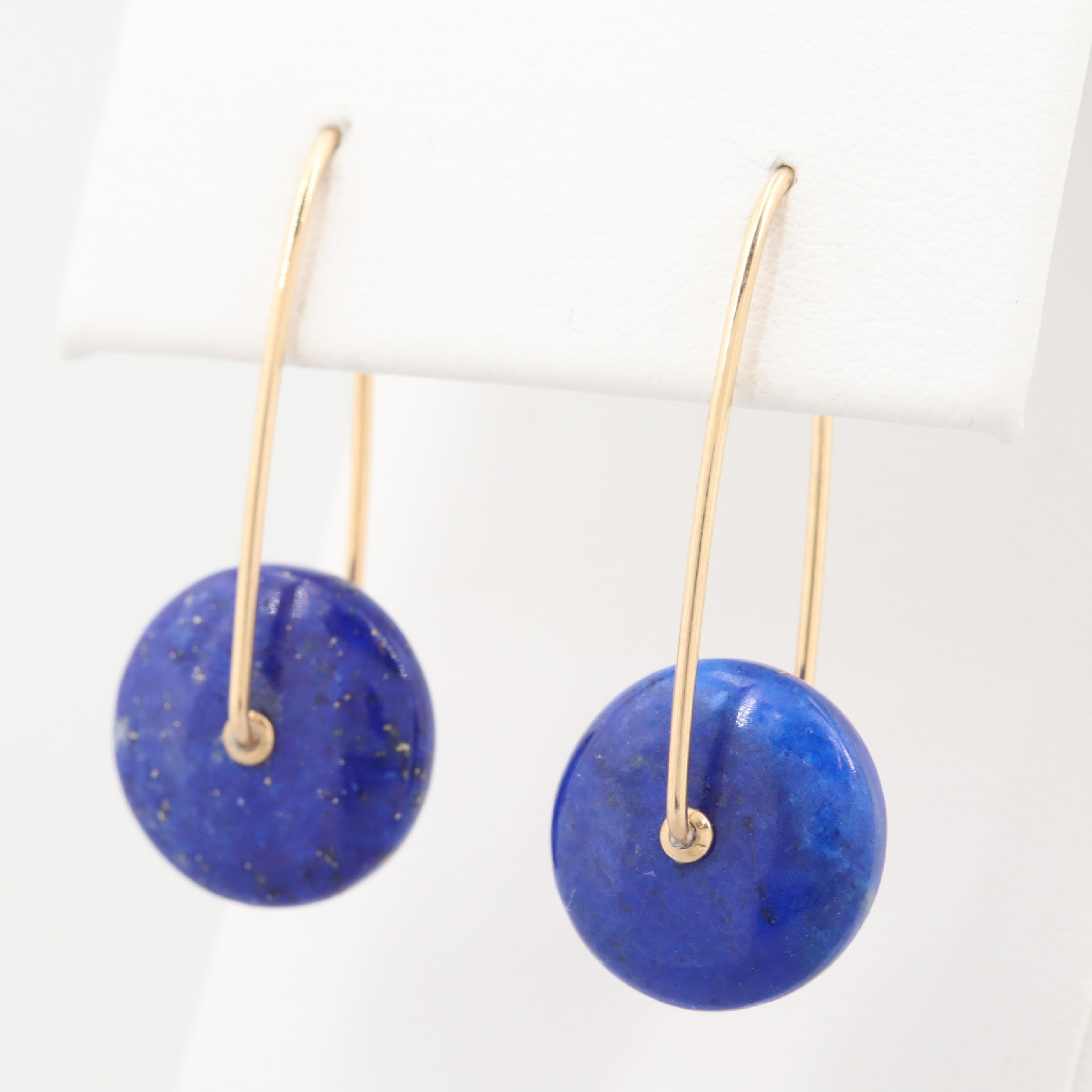 14K Yellow Gold Lapis Lazuli Drop Earrings