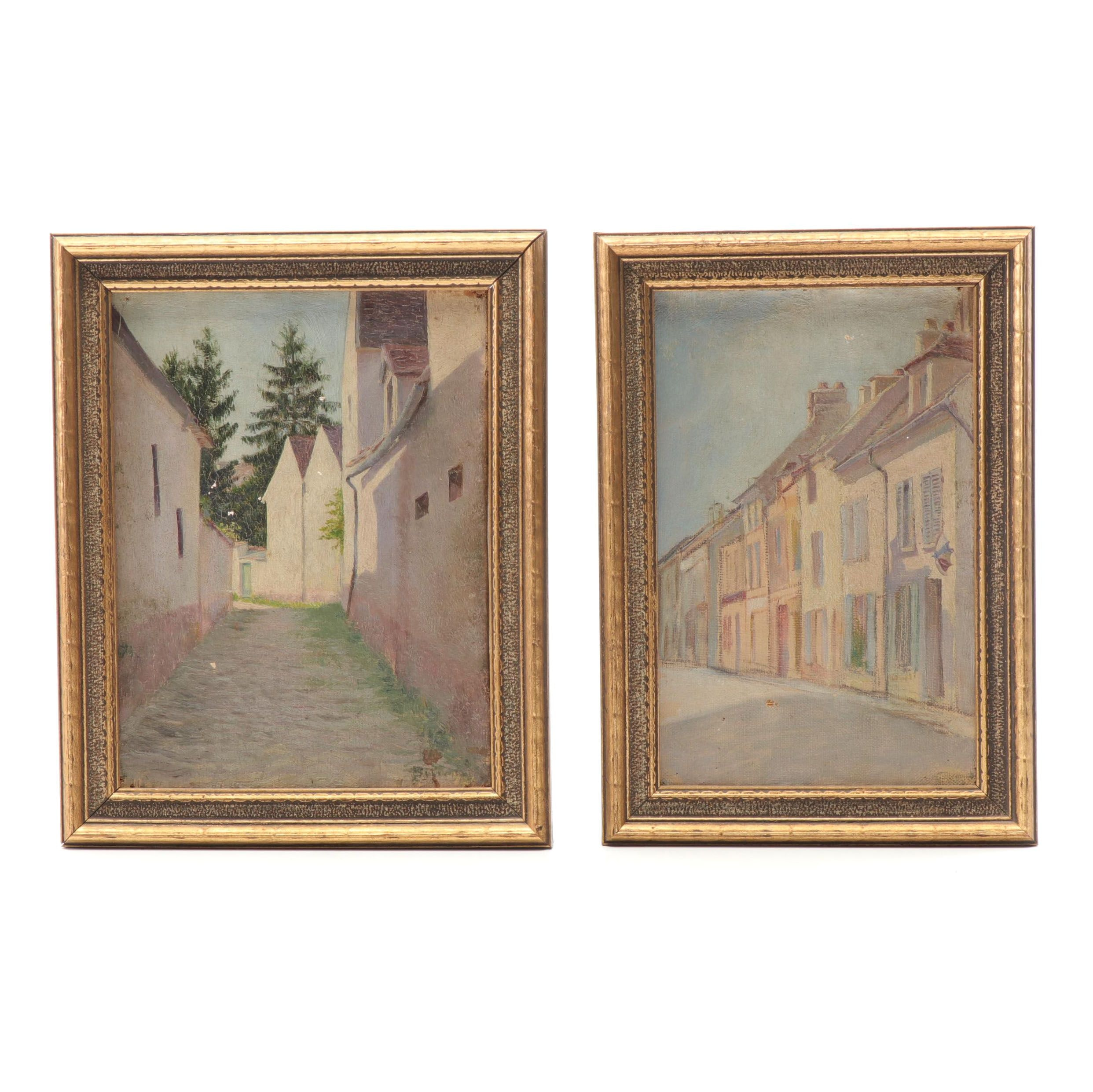 Early 20th Century Townscape Oil Paintings