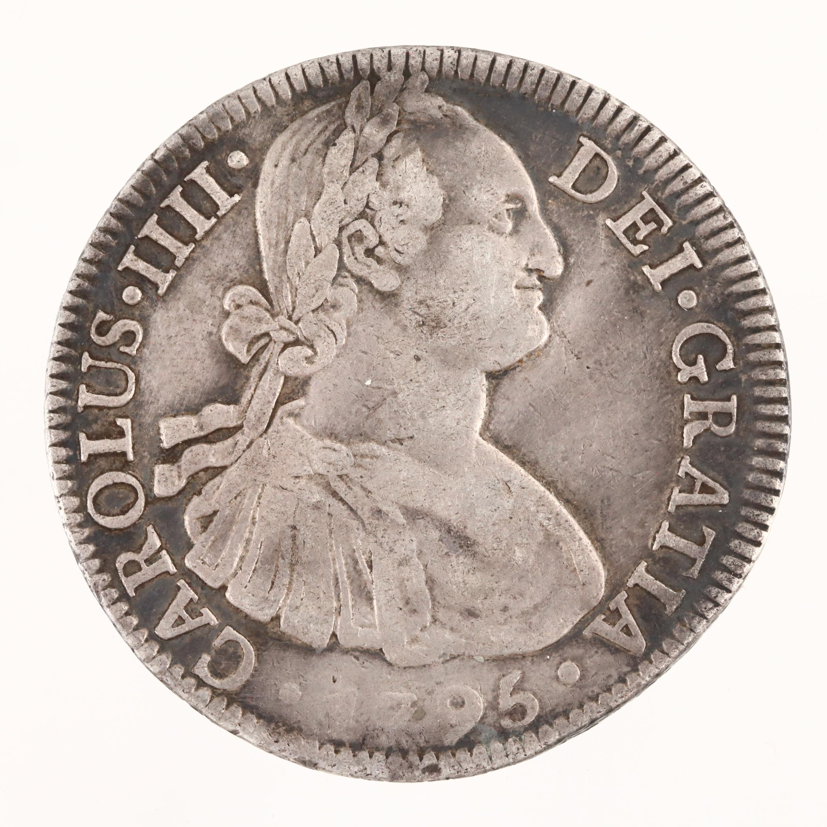 1795 Mexican Colonial 8-Reales Silver Coin of Carlos IV
