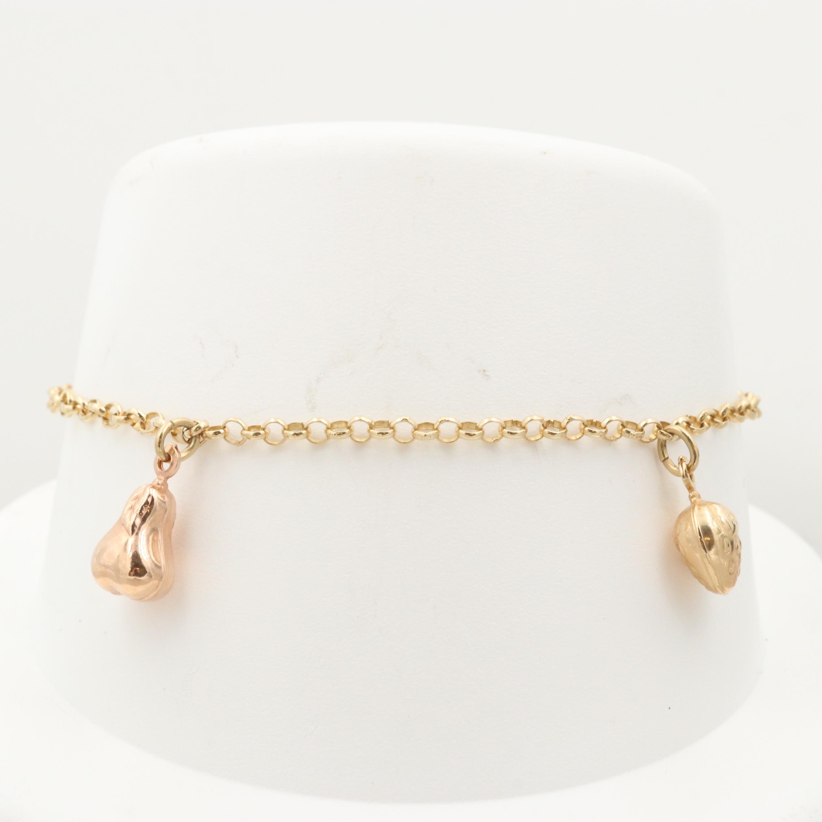 14K Yellow Gold Charm Ankle Bracelet