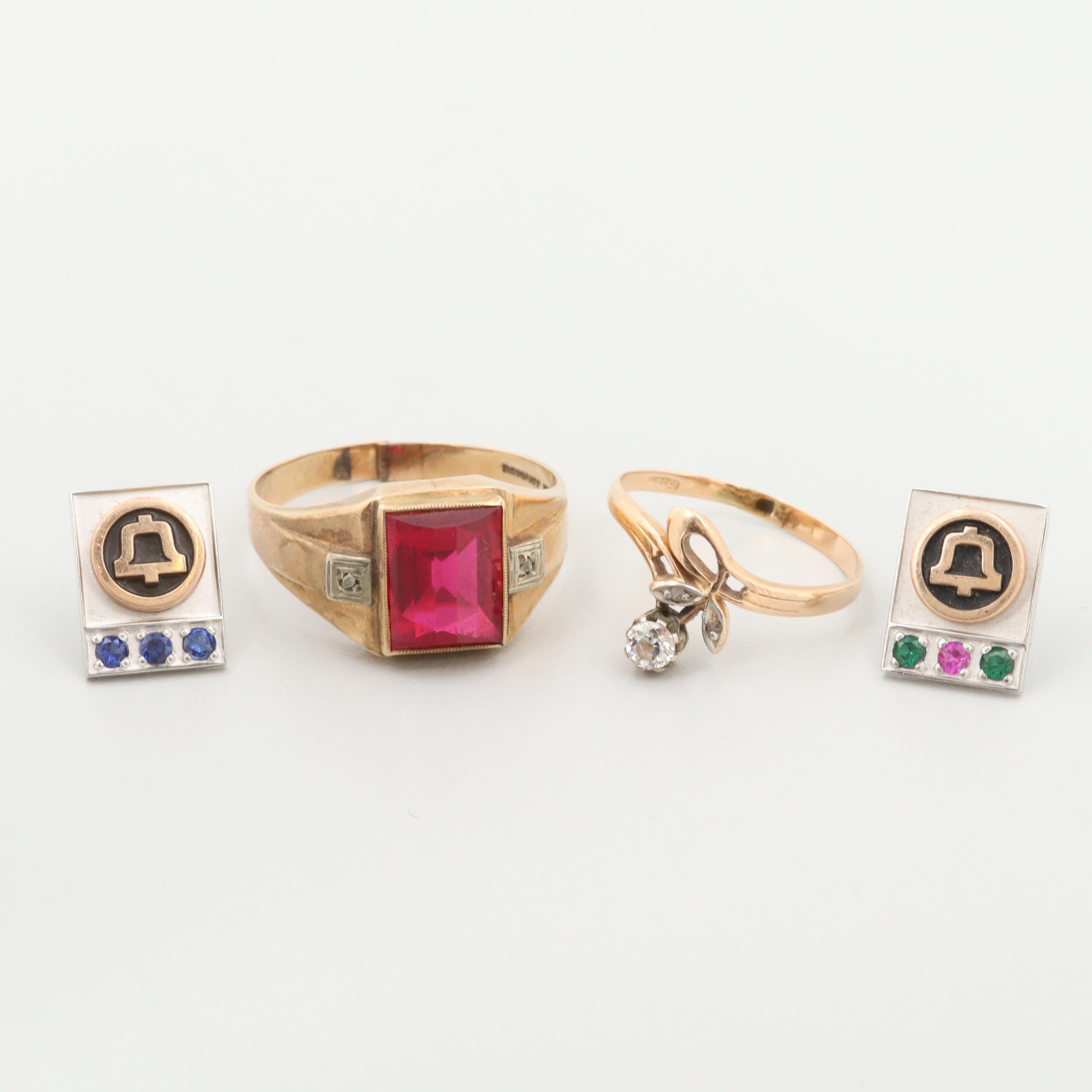 10K and 14K Gold Synthetic Gemstone and Diamond Rings and Pins