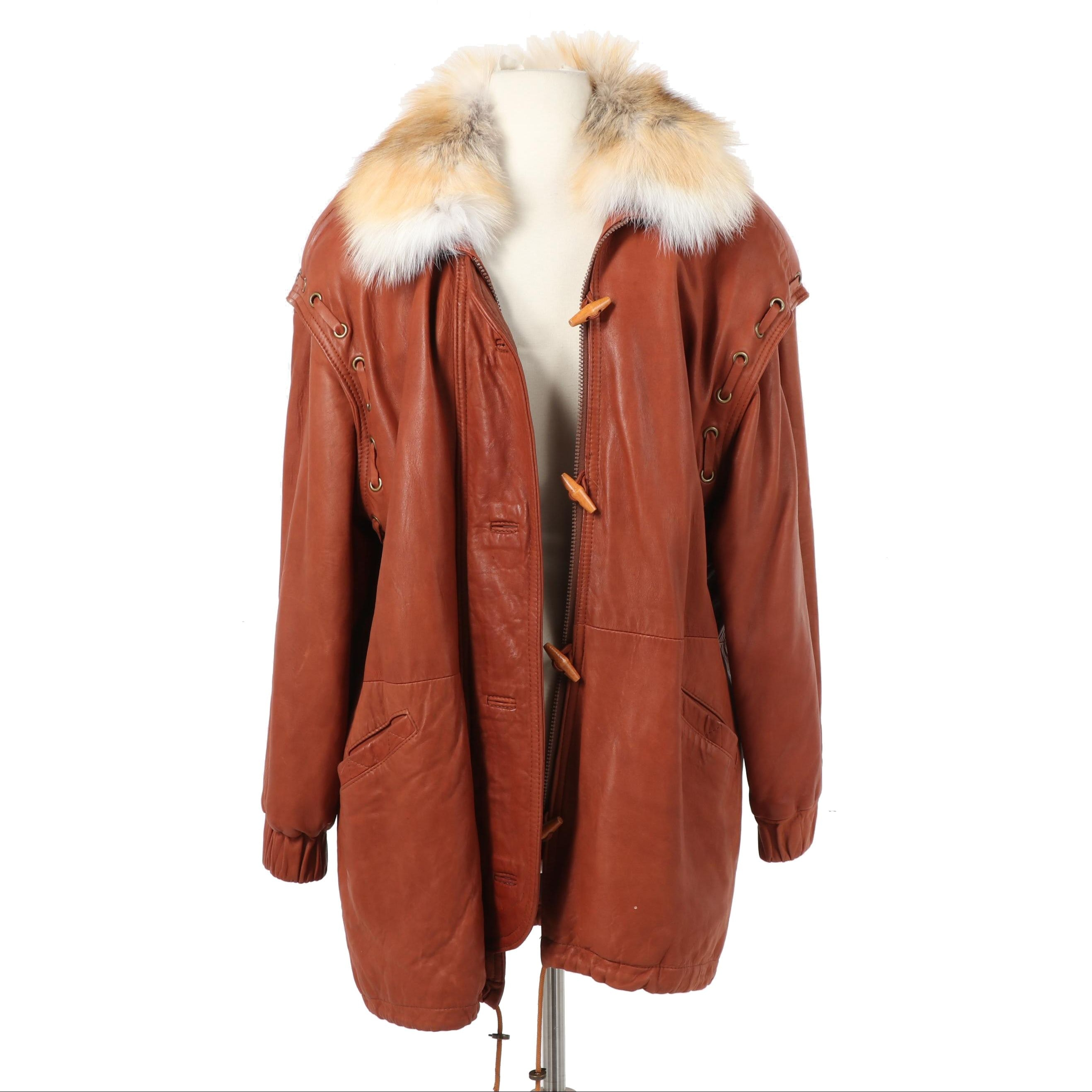 Damselle Ltd Convertible Leather Coat with Fox Fur Collar