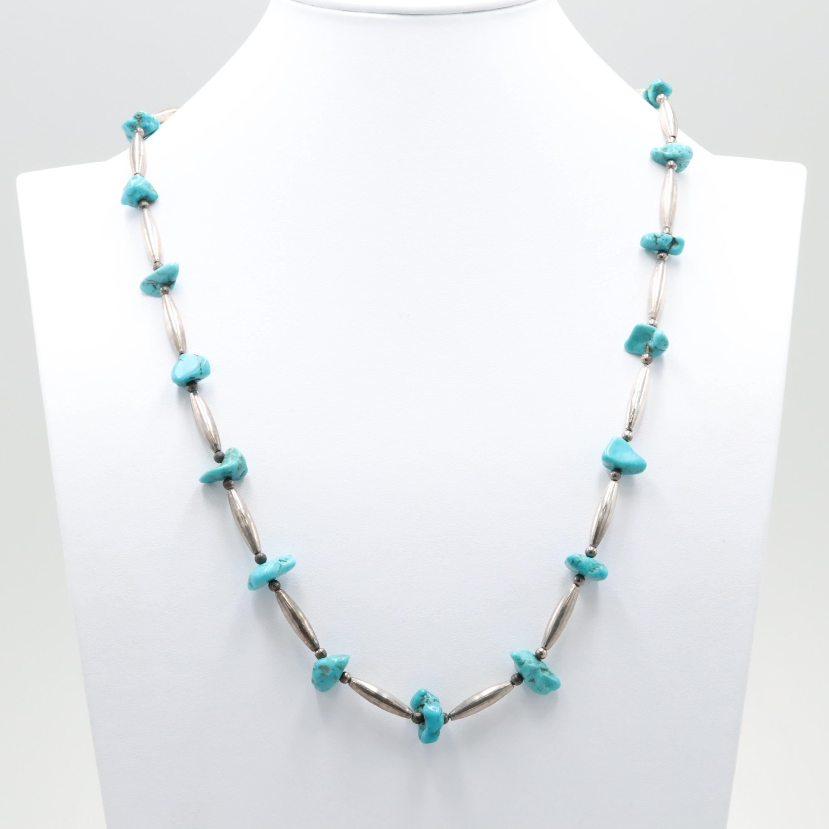Silver Tone and Turquoise Beaded Necklace