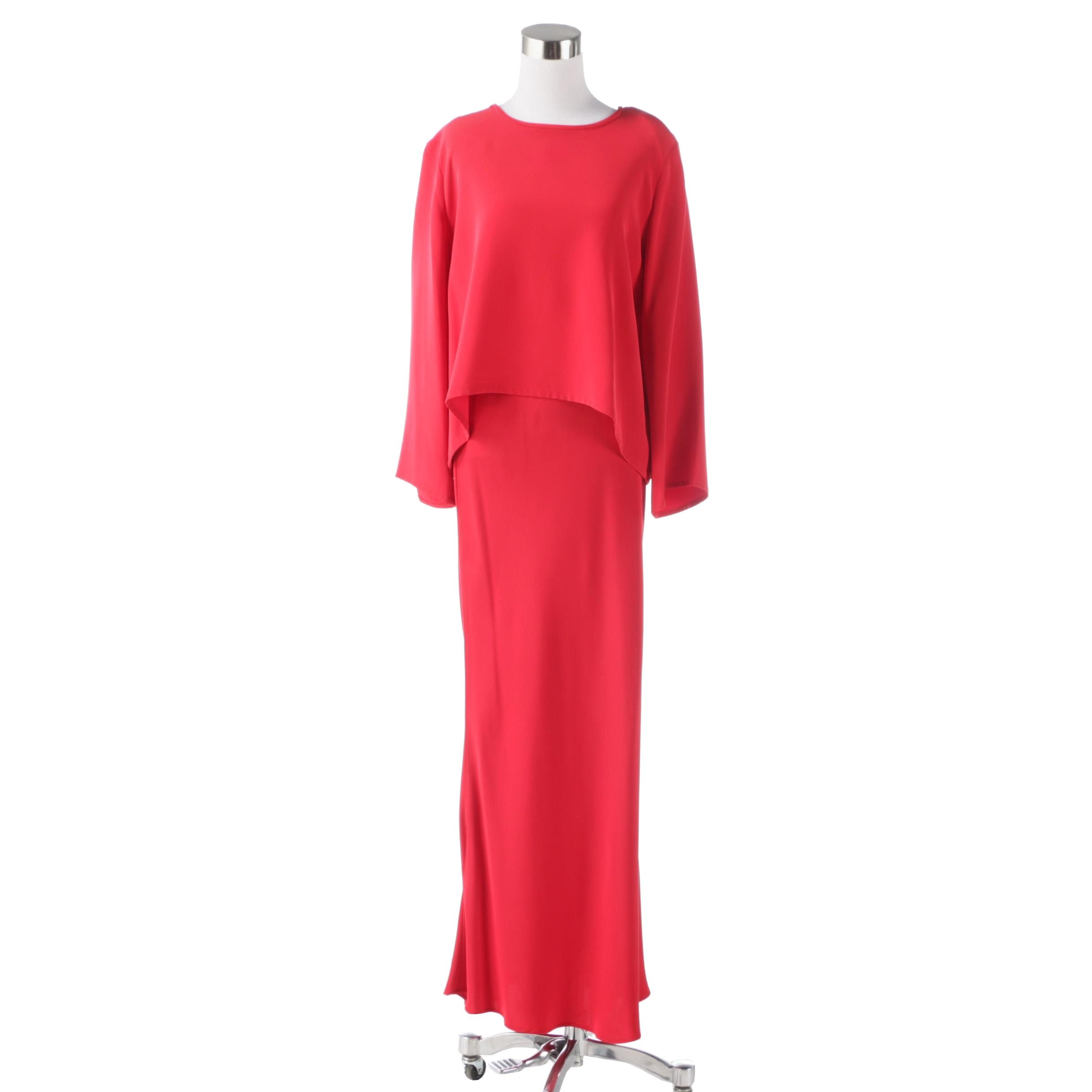Joan McGee Red Silk Long Skirt Set