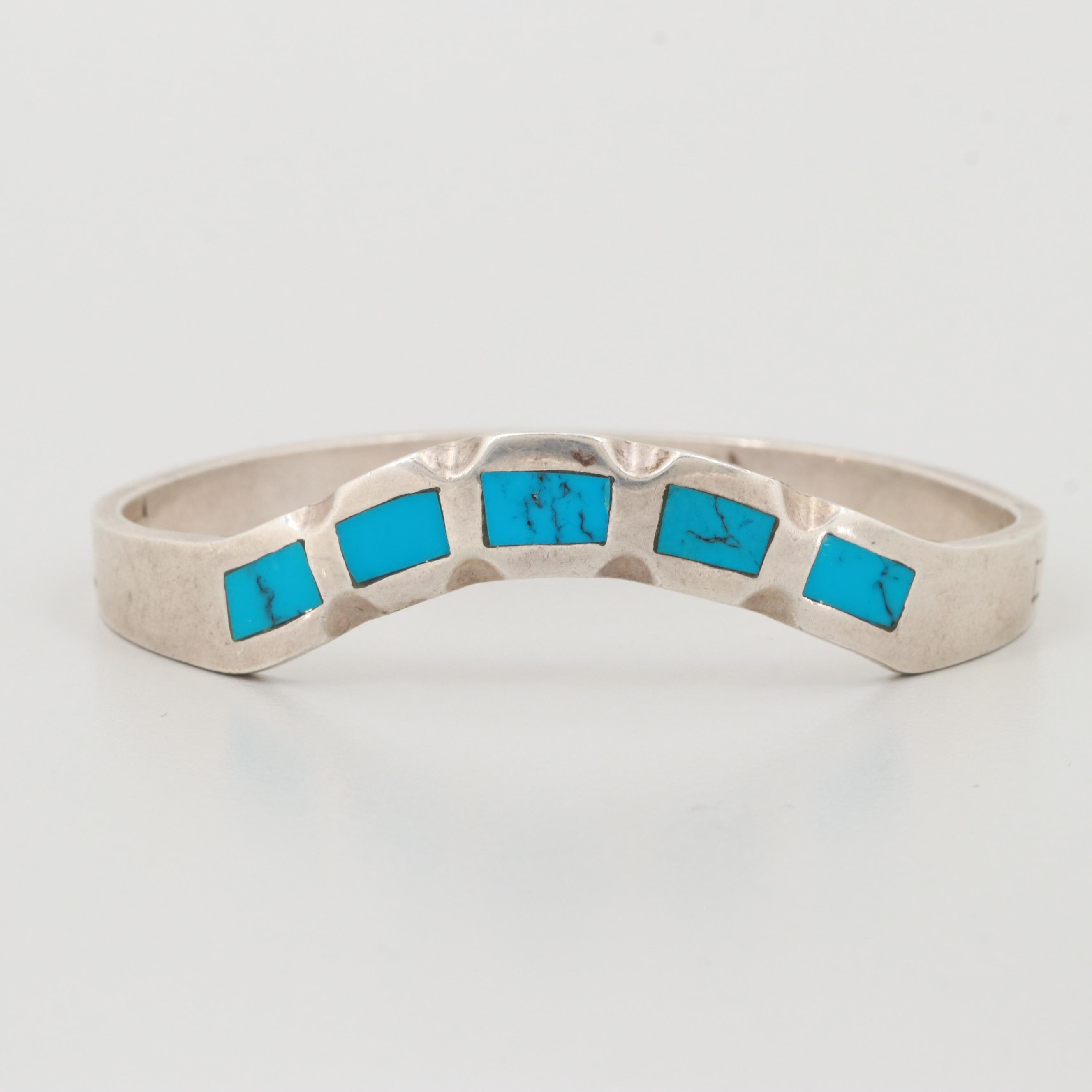 Mexican Sterling Silver Turquoise Bangle Bracelet