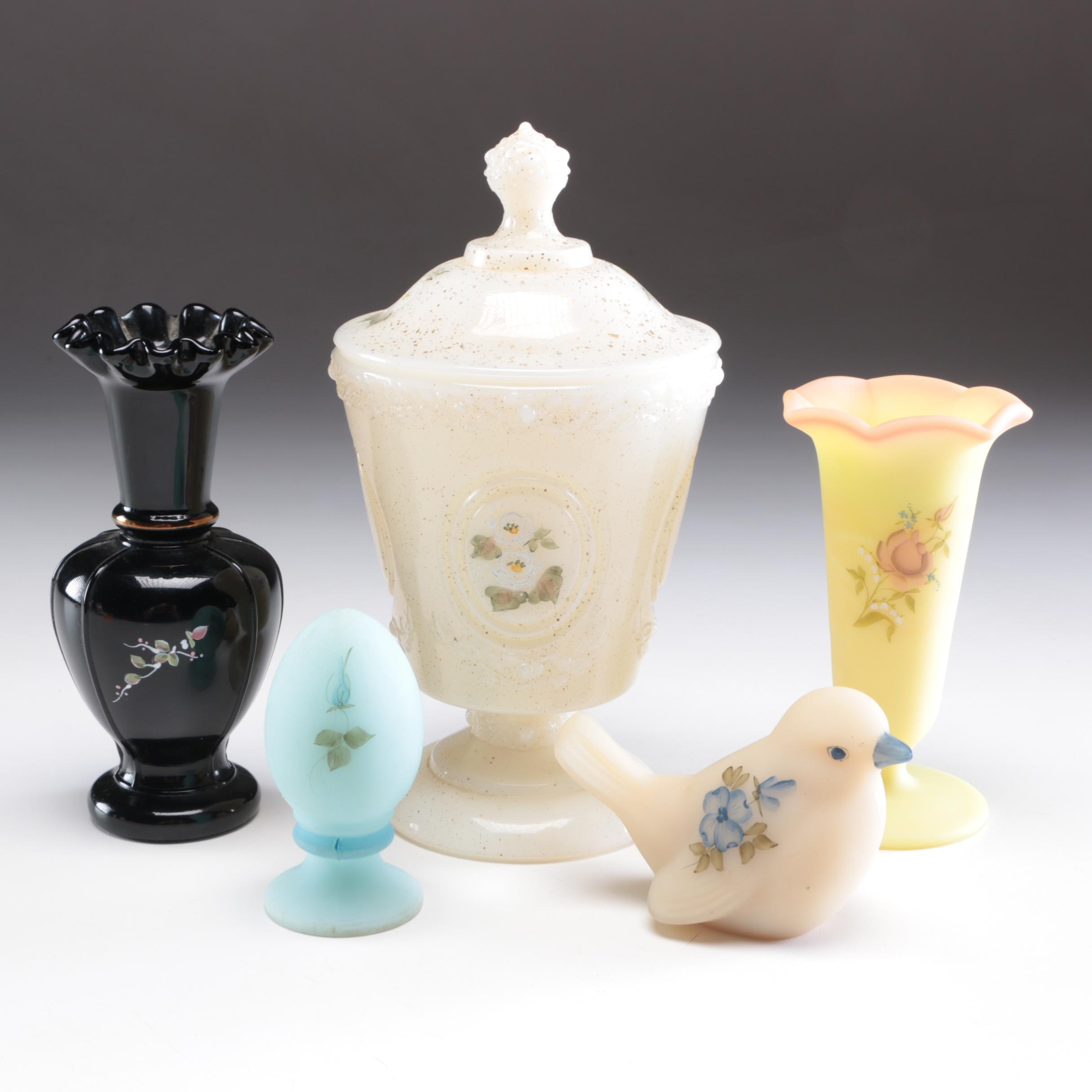 Fenton Hand-Painted Vase, Candy Dish, and Others