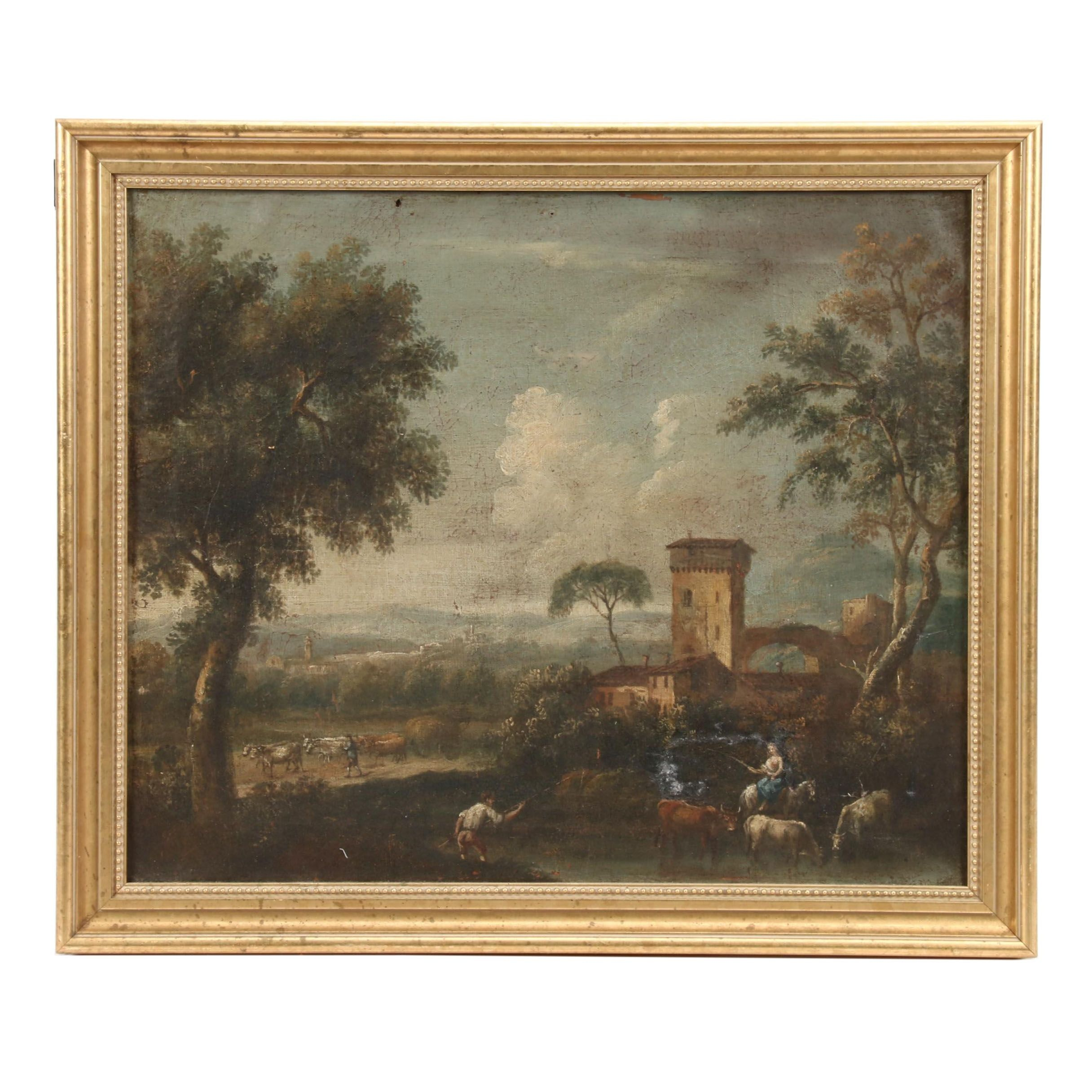 19th Century Pastoral Landscape Oil Painting
