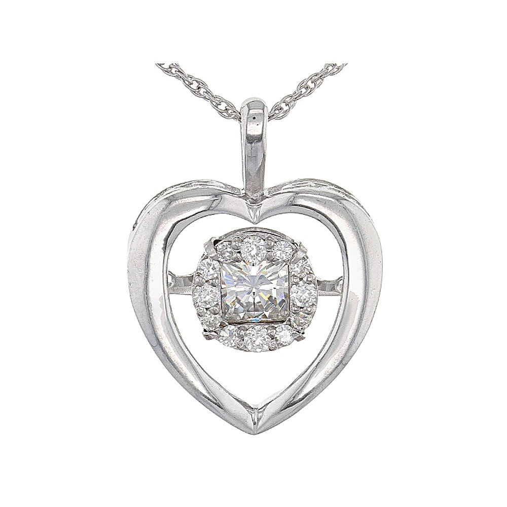 Sterling Silver Moissanite Pendant with Chain