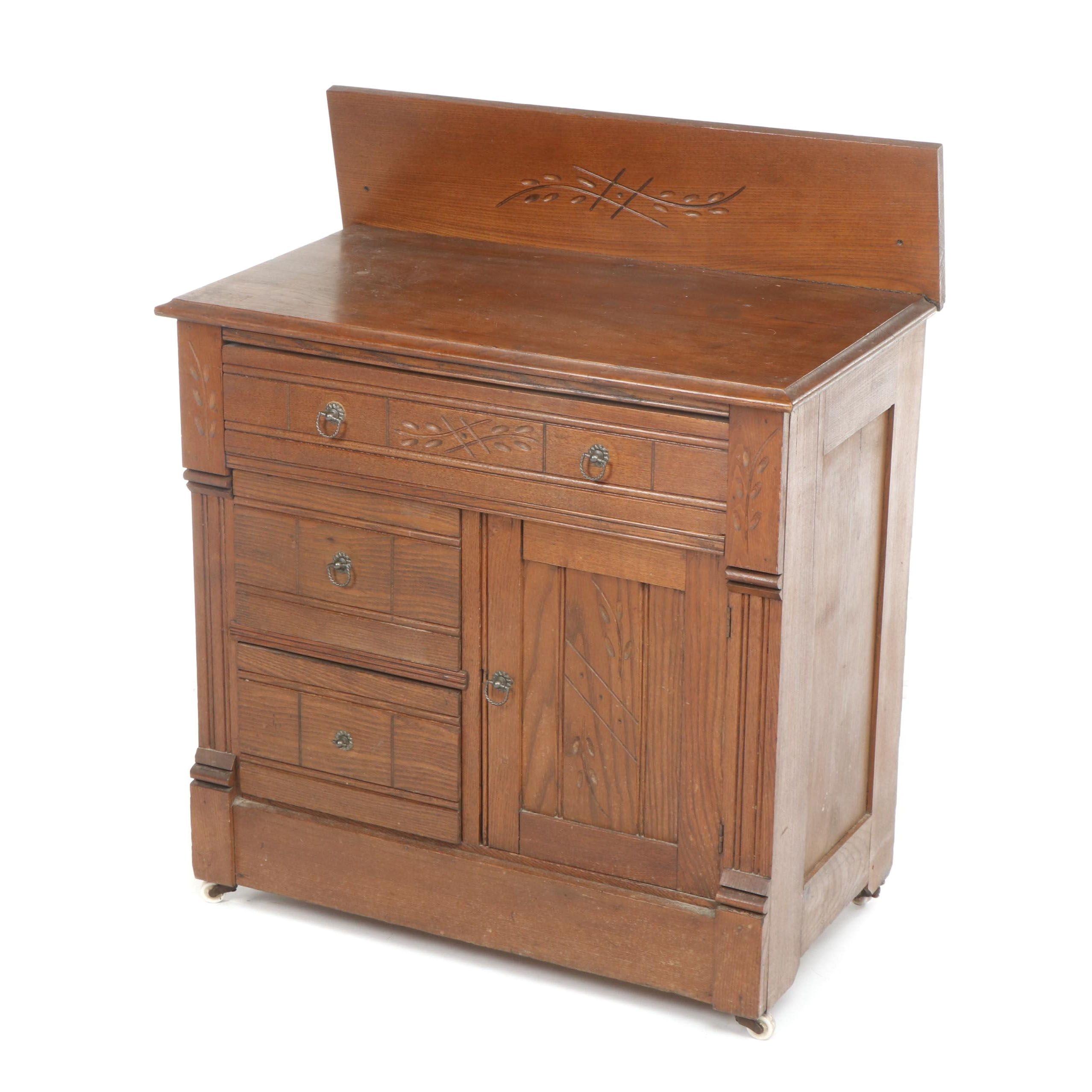 Eastlake Style Oak Cabinet