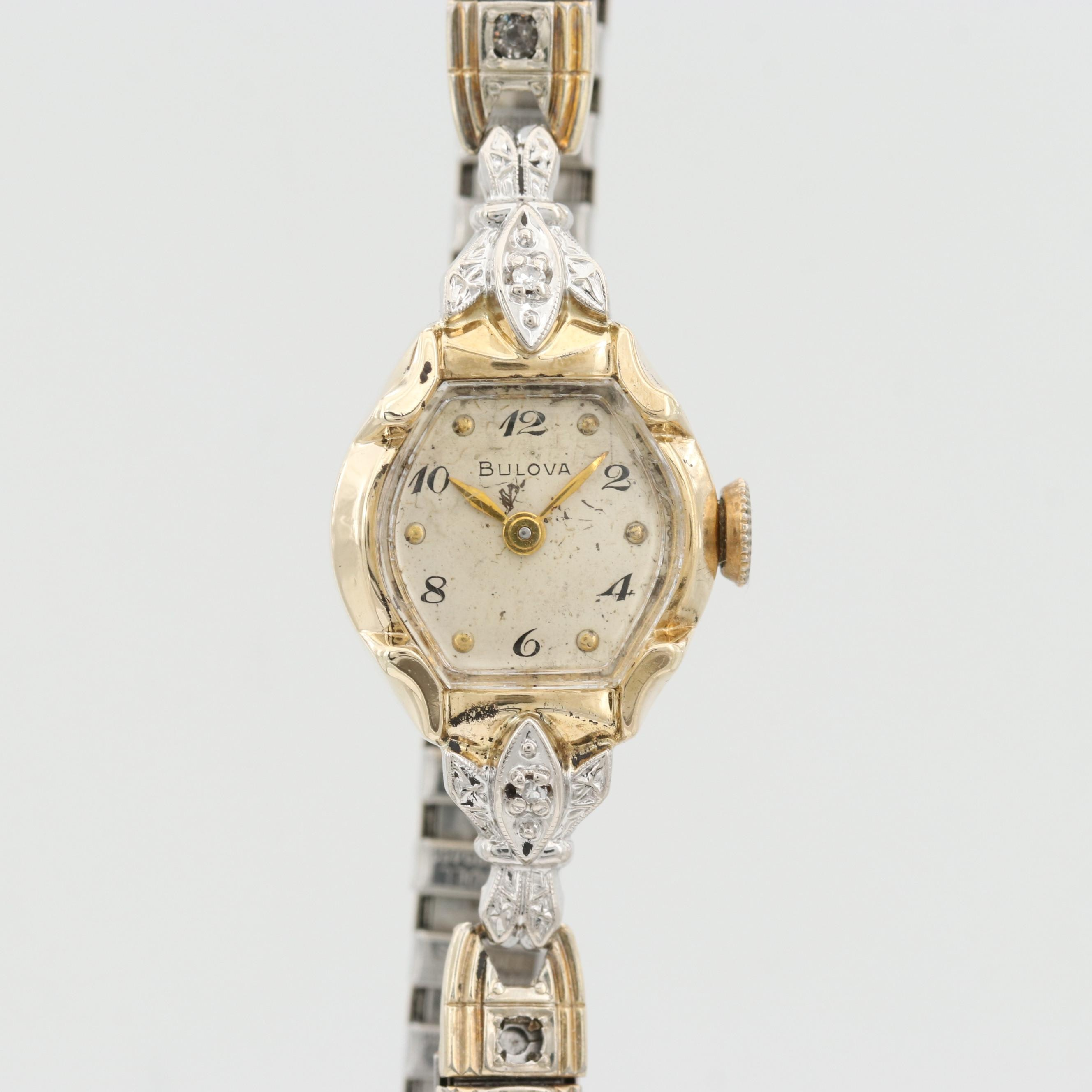 Bulova 14K Yellow Gold and Diamond Wristwatch With Glass Crystal Accents