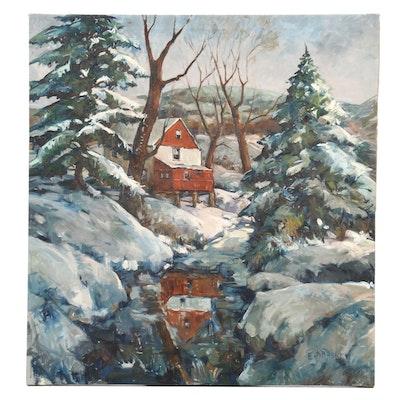 Edward O. Kraske Barn in Winter Landscape Oil Painting