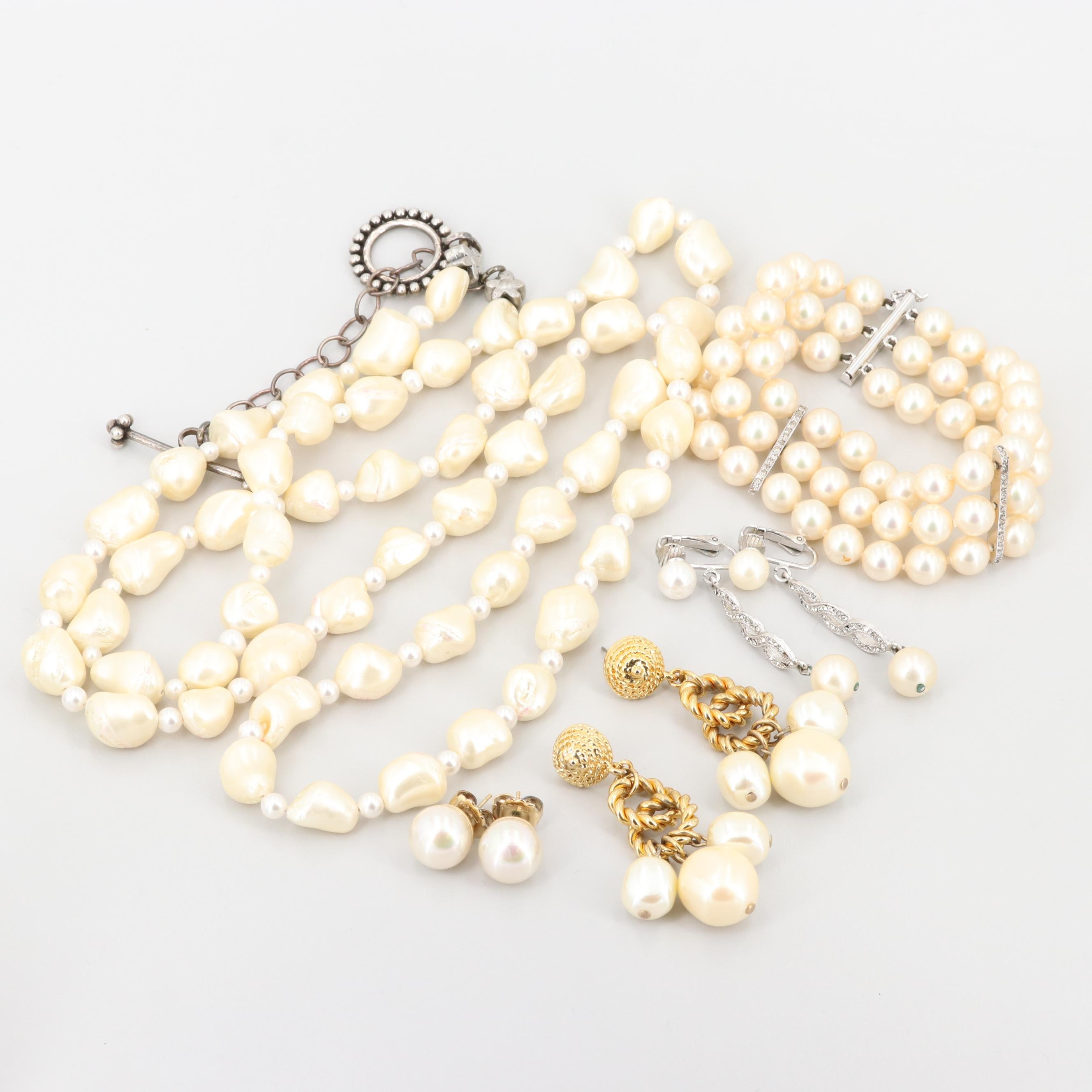 Imitation Pearl and Rhinestone Jewelry Including Sterling Silver