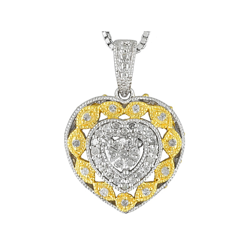 Sterling Silver Diamond Heart Pendant Necklace With Gold Wash Accents