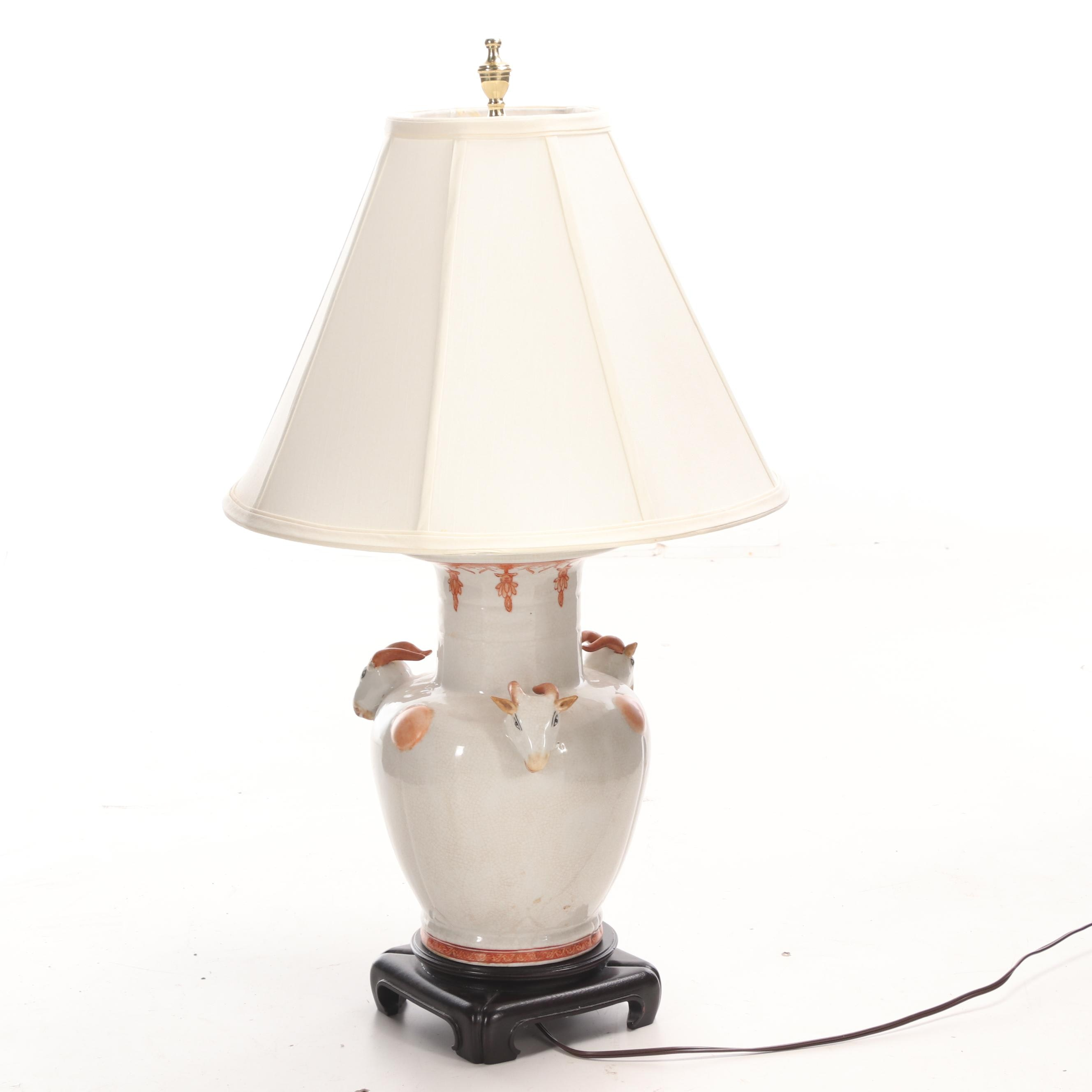 Asian Style Table Lamp with Figural Goat Head Accents