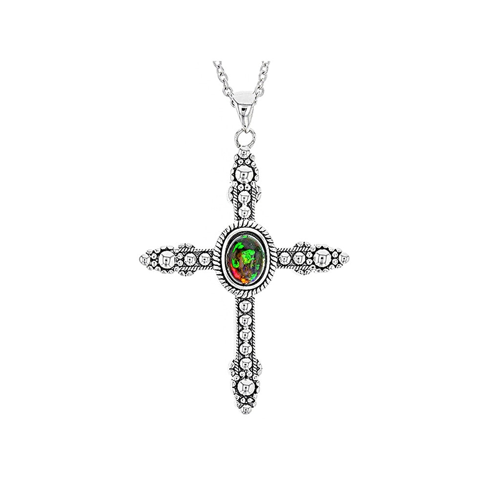 Sterling Silver Opal Cross Pendant Necklace