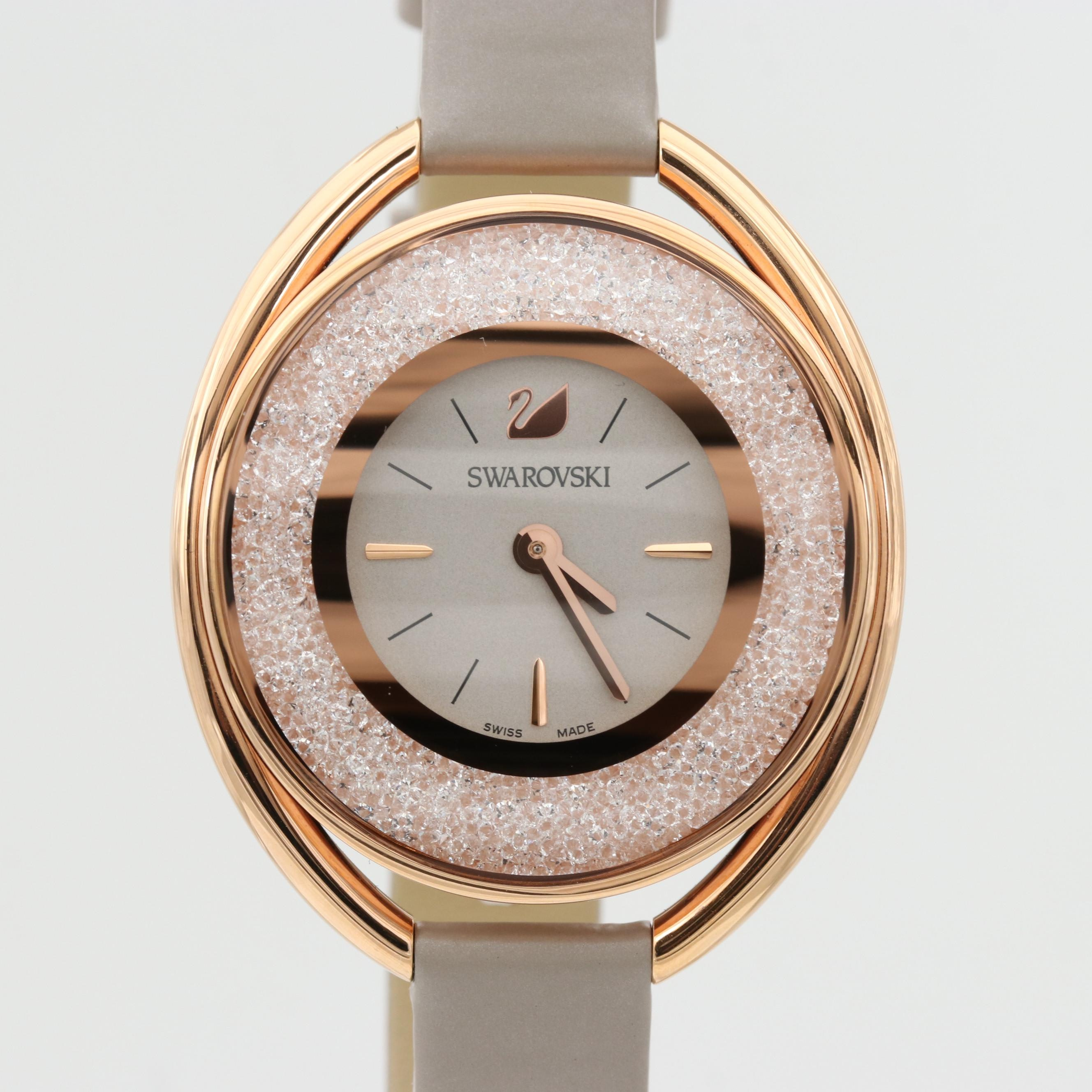 Swarovski Crystaline Oval Gold Tone Quartz Wristwatch With Swarovski Crystals